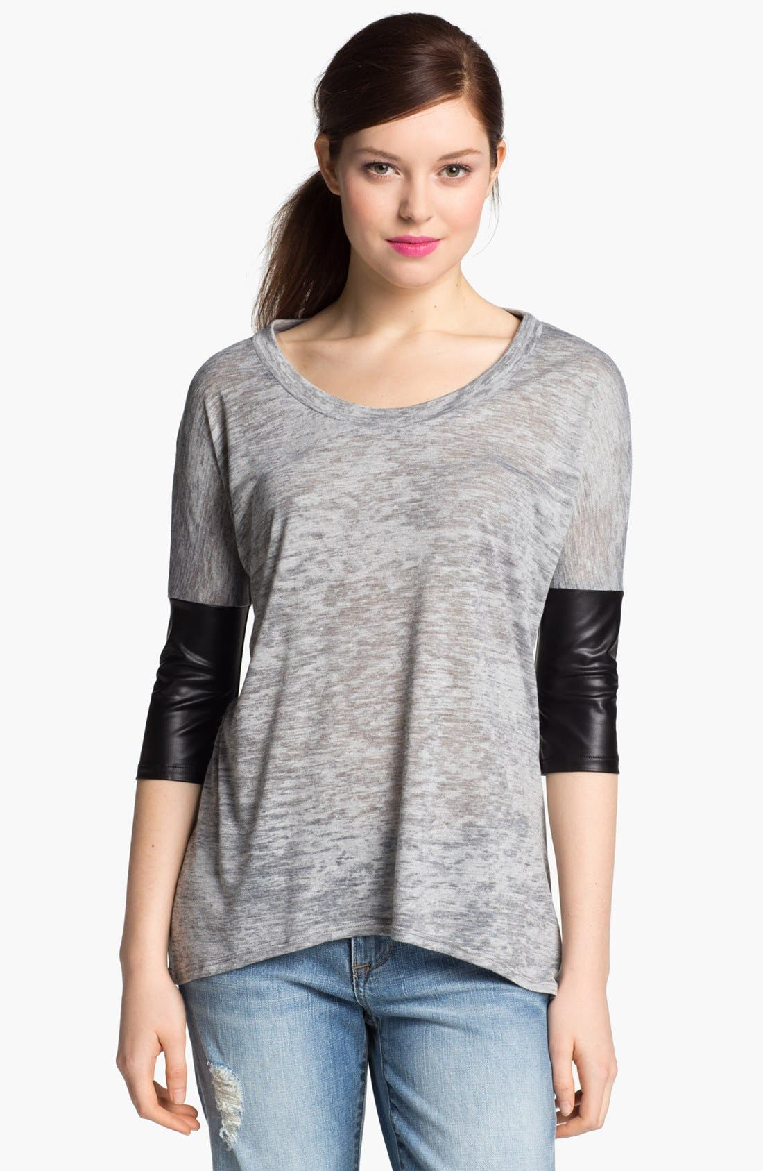 Main Image - I.Ner Faux Leather Sleeve Slub Tee