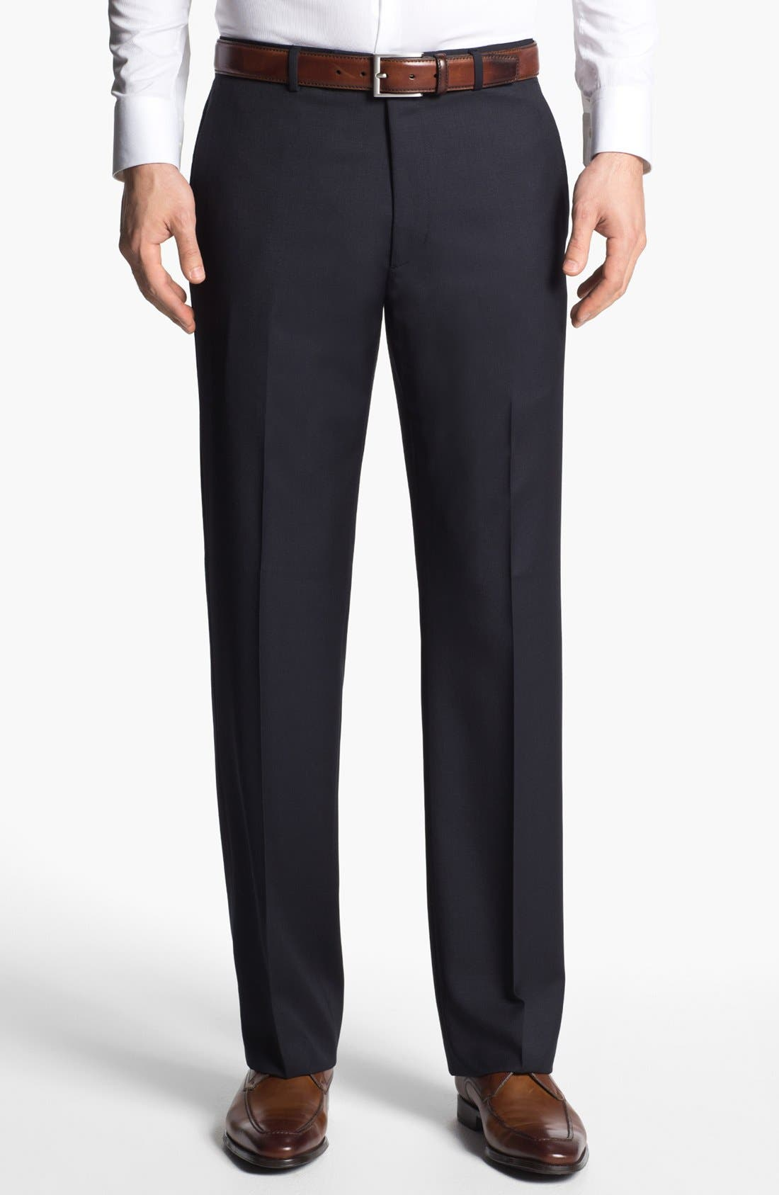 Main Image - John Varvatos Star USA 'Thompson' Flat Front Wool Trousers