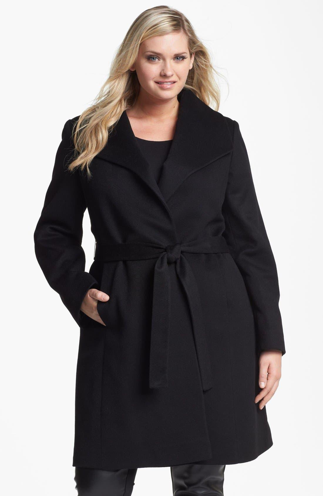 Main Image - Fleurette Wing Collar Cashmere Wrap Coat (Plus Size)
