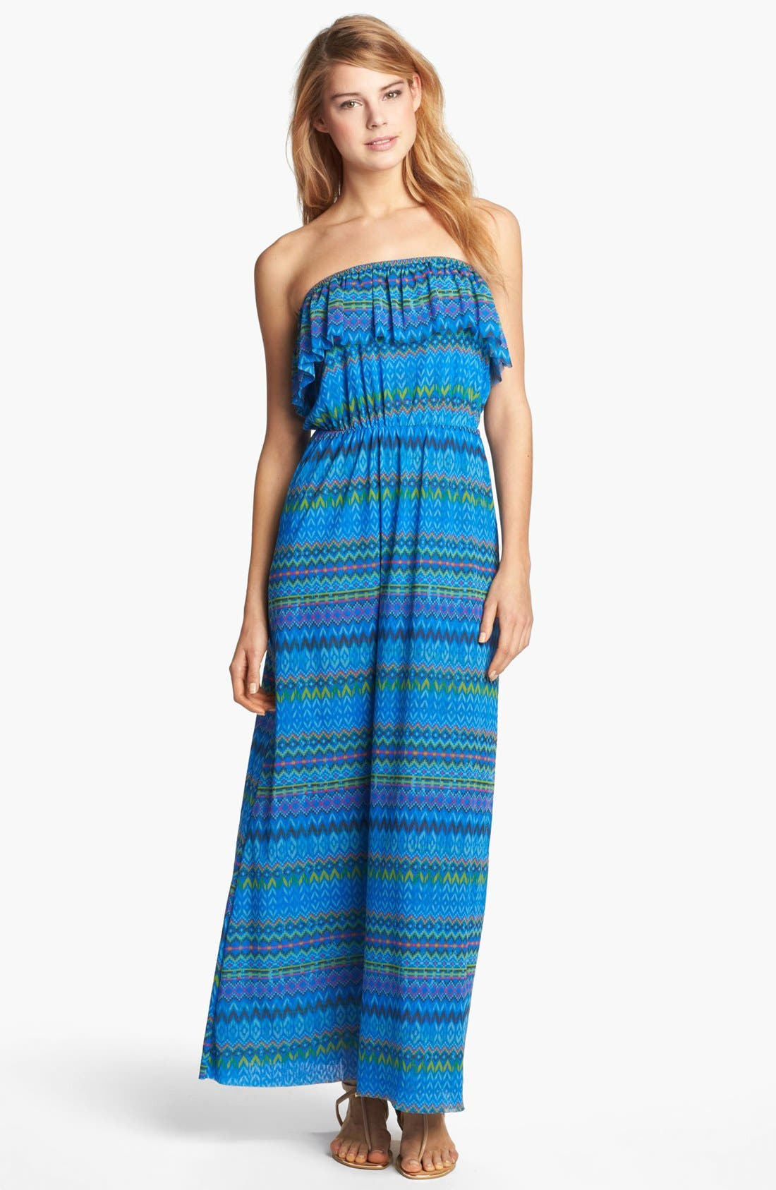 Alternate Image 1 Selected - Sweet Pea by Stacy Frati Print Strapless Maxi Dress