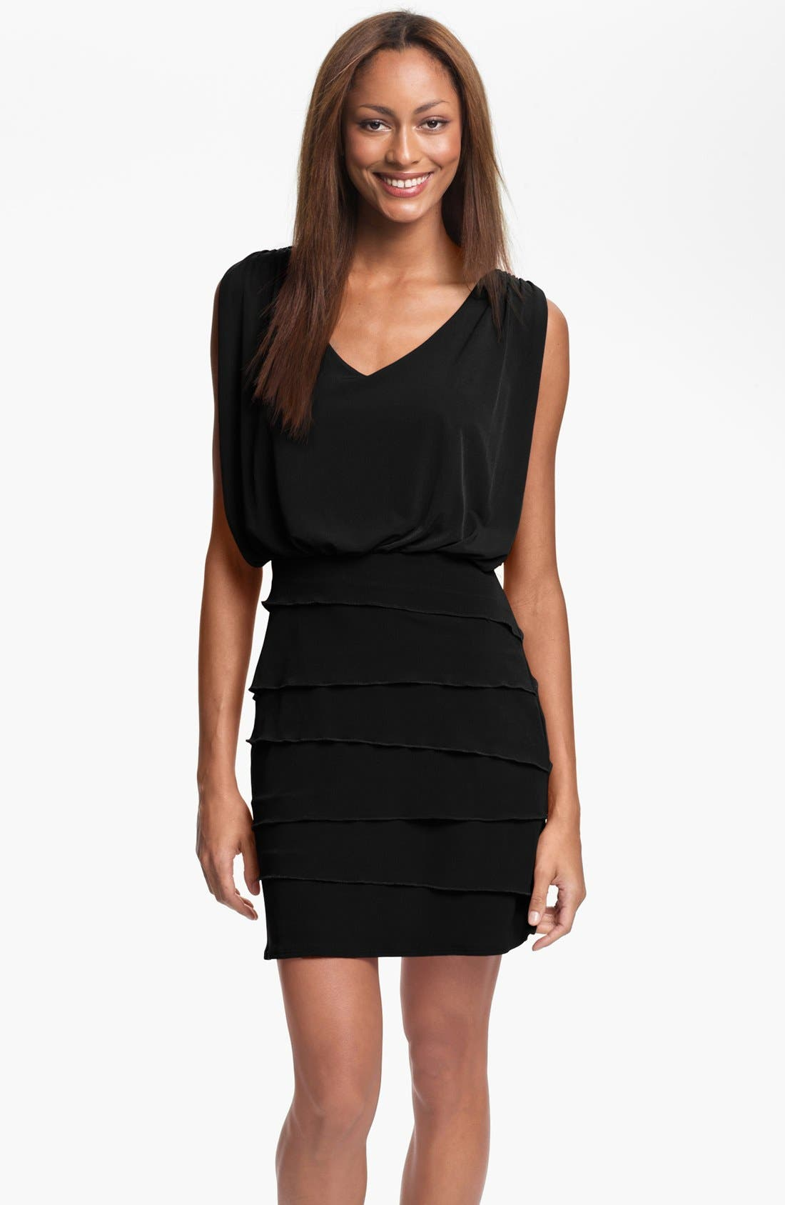 Alternate Image 1 Selected - Laundry by Shelli Segal Tiered Skirt Dress (Petite)