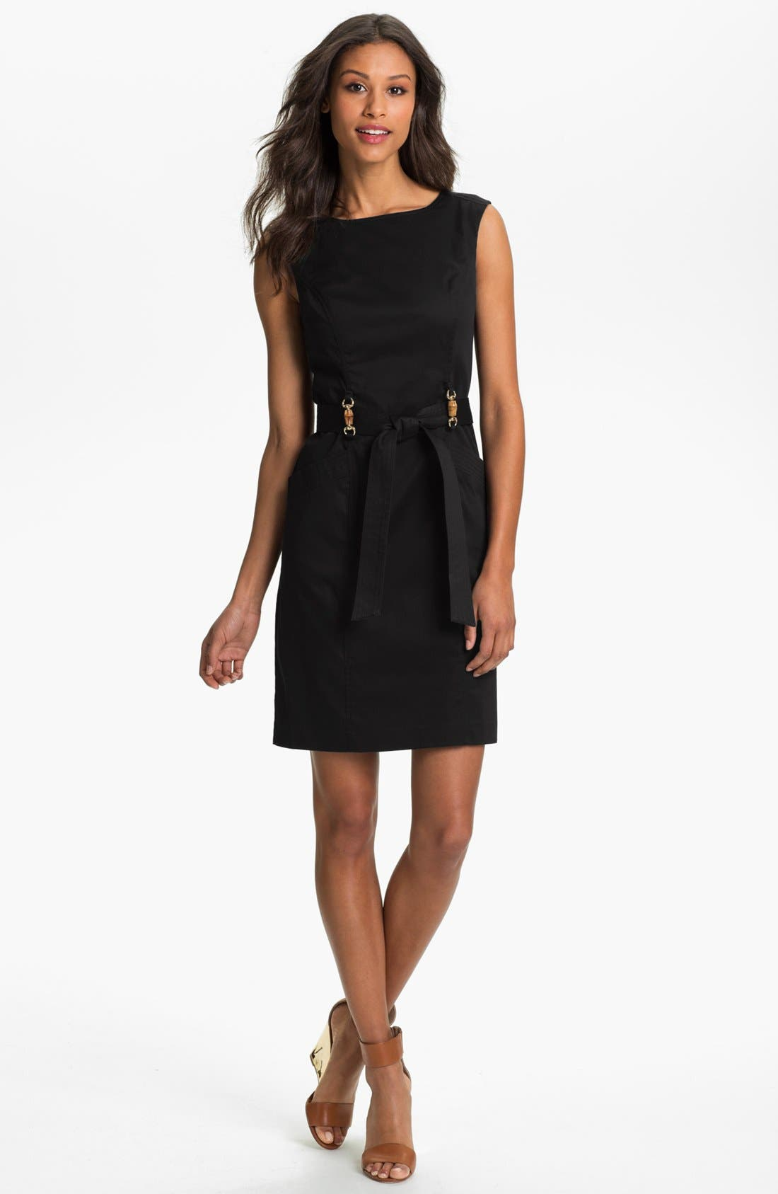 Main Image - Ellen Tracy Belted Sheath Dress (Regular & Petite)
