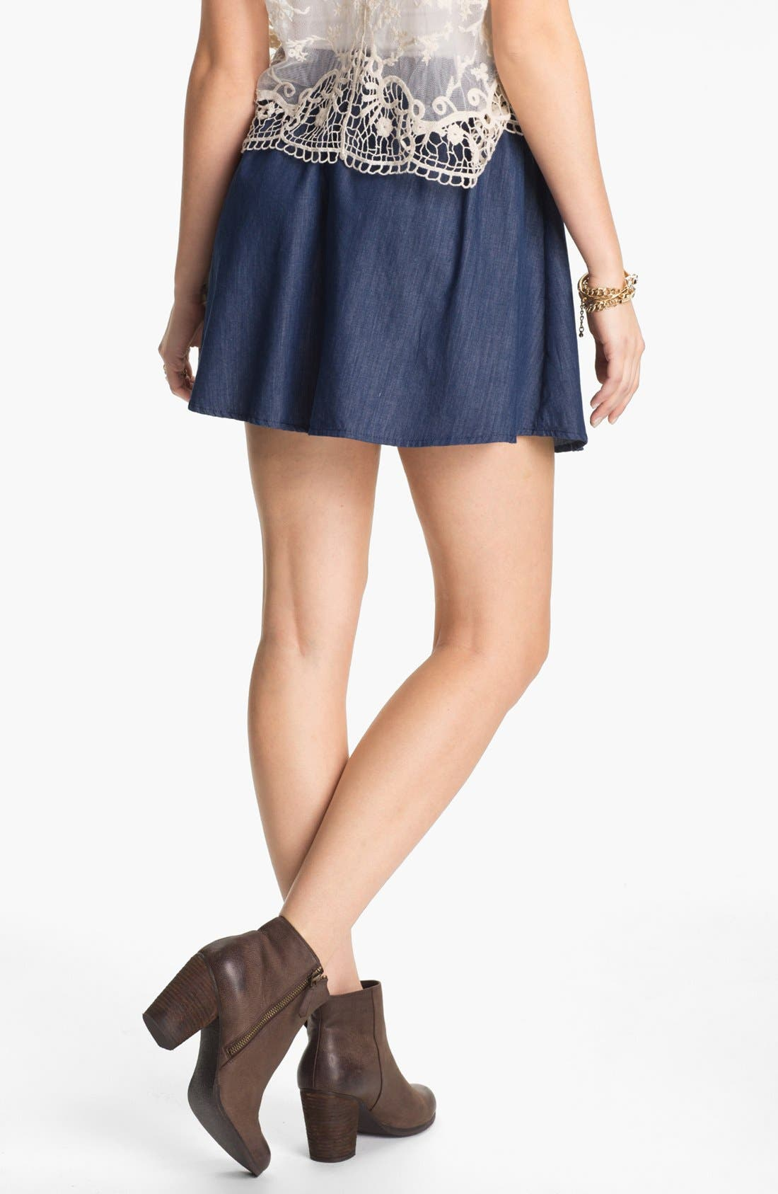 Alternate Image 2  - Lily White Chambray Skater Skirt (Juniors)