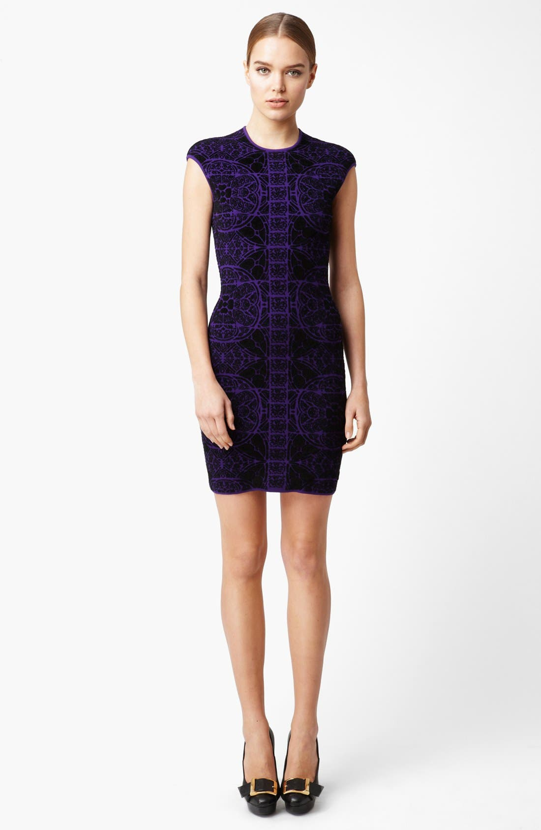 Alternate Image 1 Selected - Alexander McQueen Stained Glass Print Intarsia Knit Dress