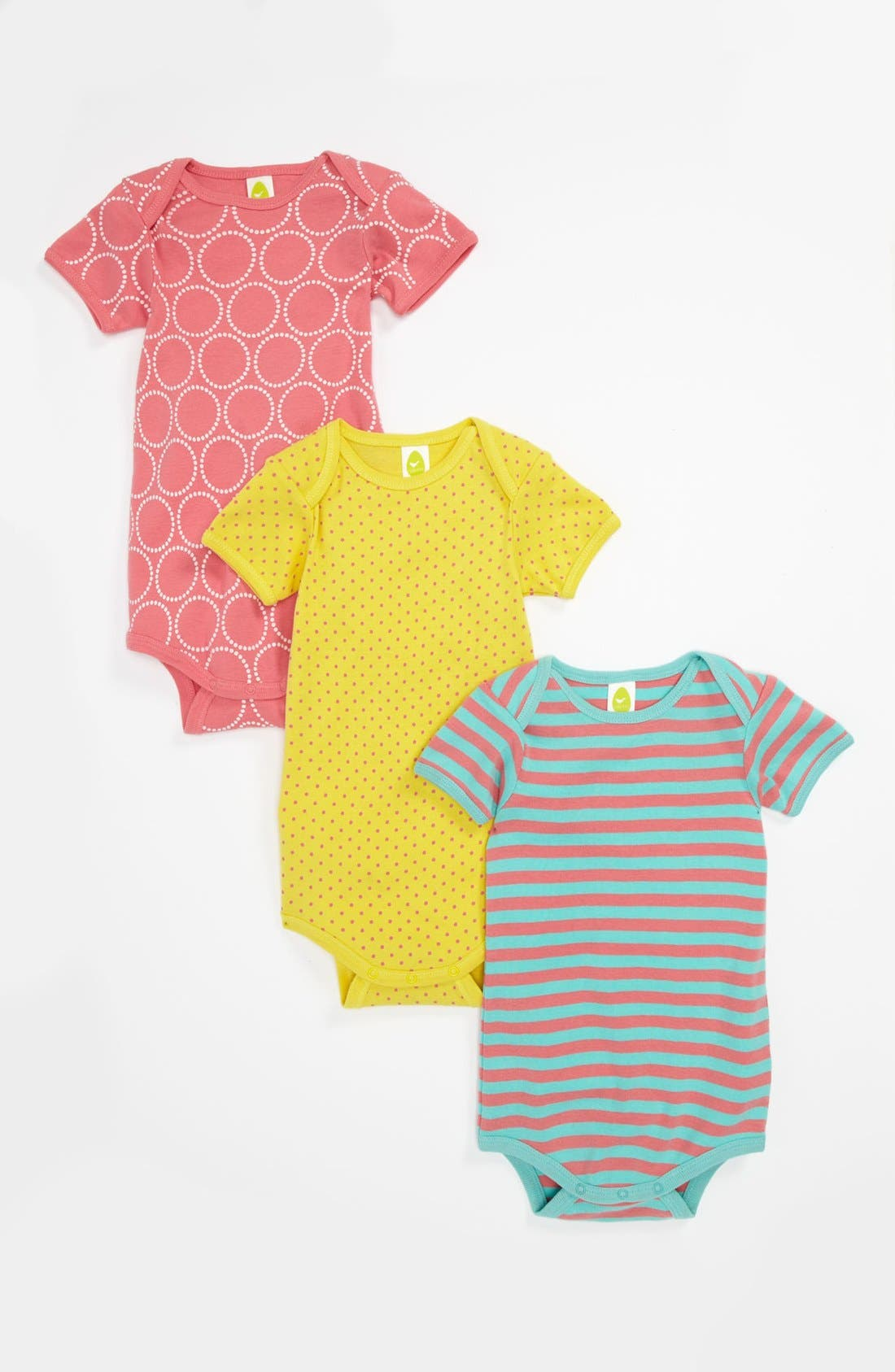 Alternate Image 1 Selected - Stem Baby Organic Cotton Bodysuit (3-Pack) (Baby Girls)
