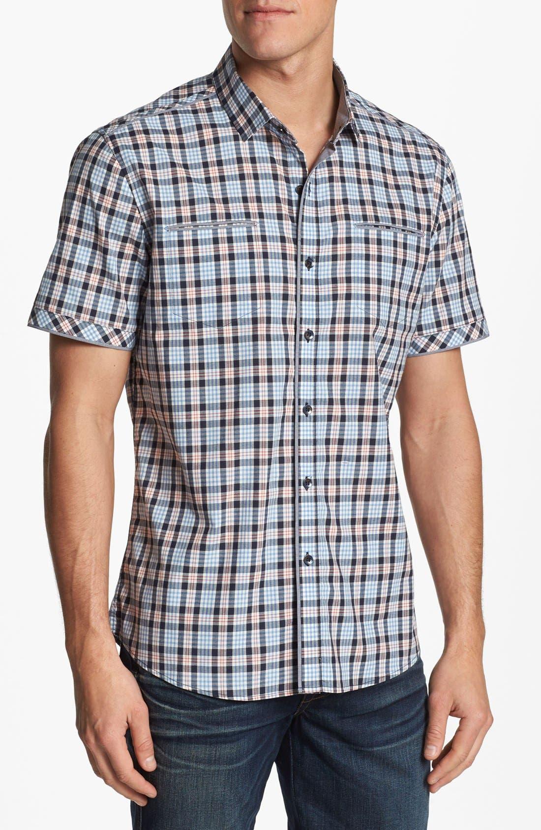 Alternate Image 1 Selected - 7 Diamonds 'Sweet Nothing' Plaid Woven Short Sleeve Shirt