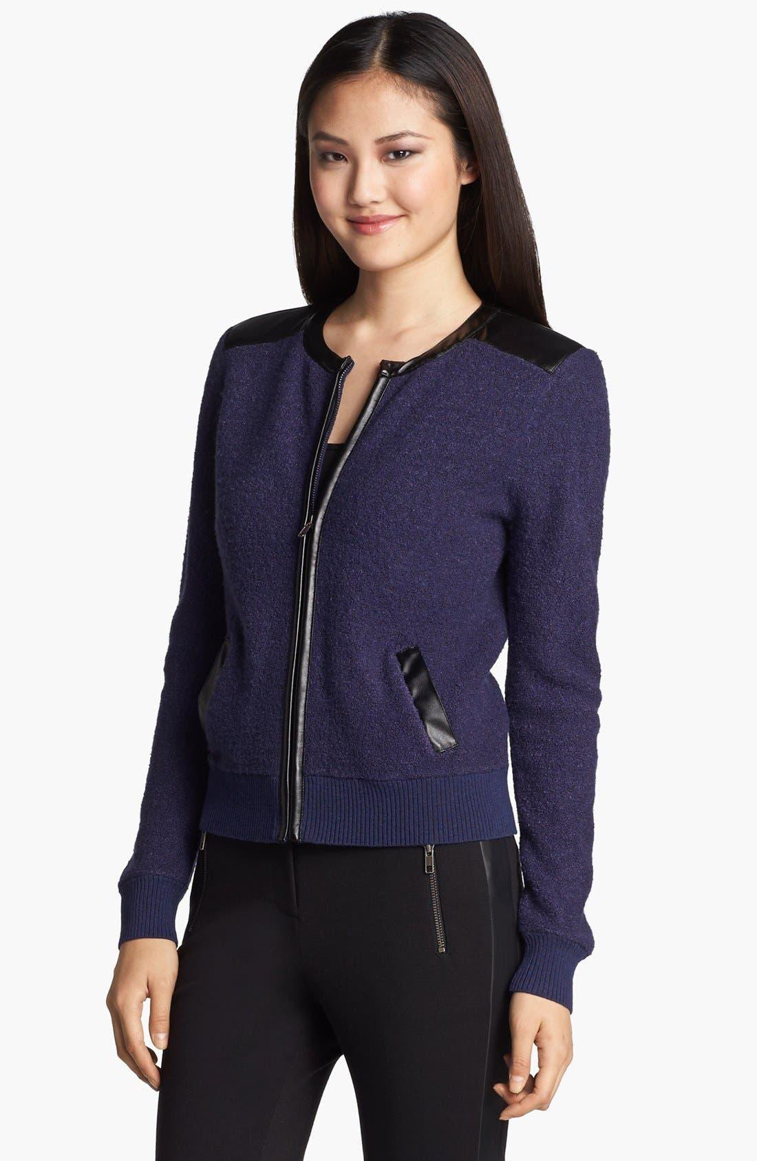 Main Image - Halogen® Bouclé Knit Bomber Jacket