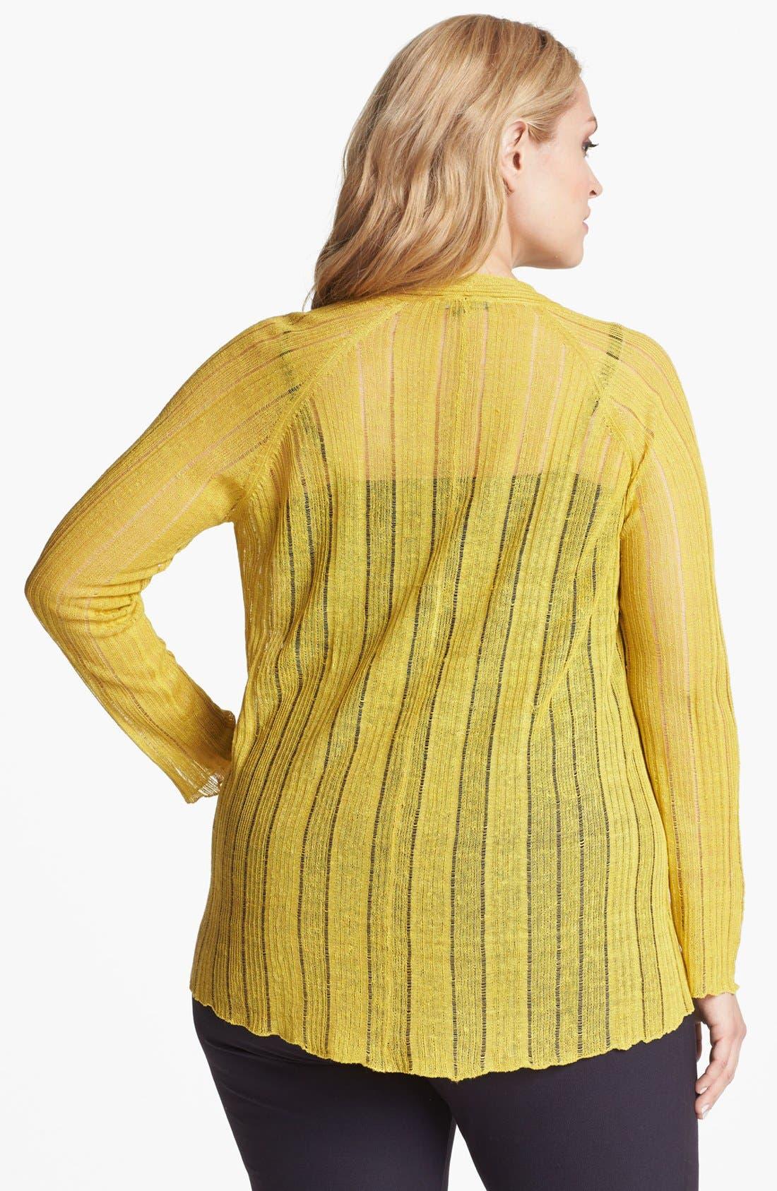Alternate Image 2  - Eileen Fisher Raglan Sleeve Open Cardigan (Plus Size)