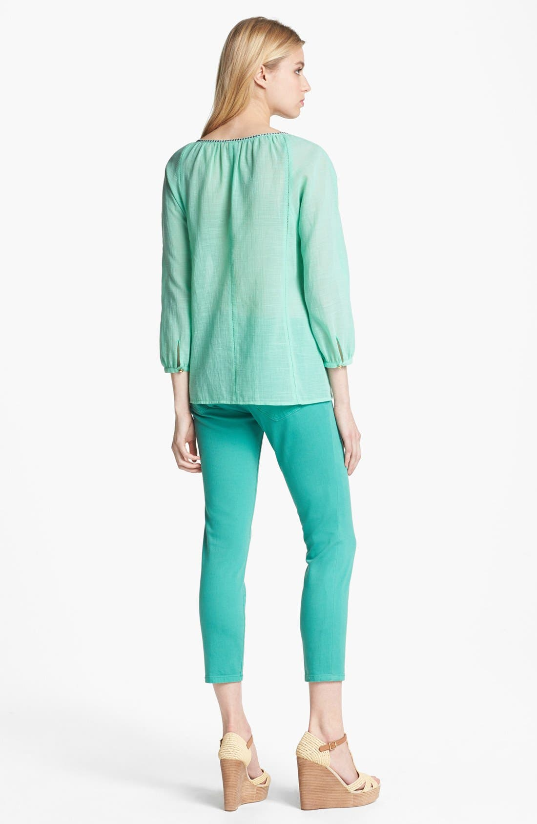 Alternate Image 5  - Tory Burch 'Alexa' Skinny Crop Stretch Jeans (Viridian Green)
