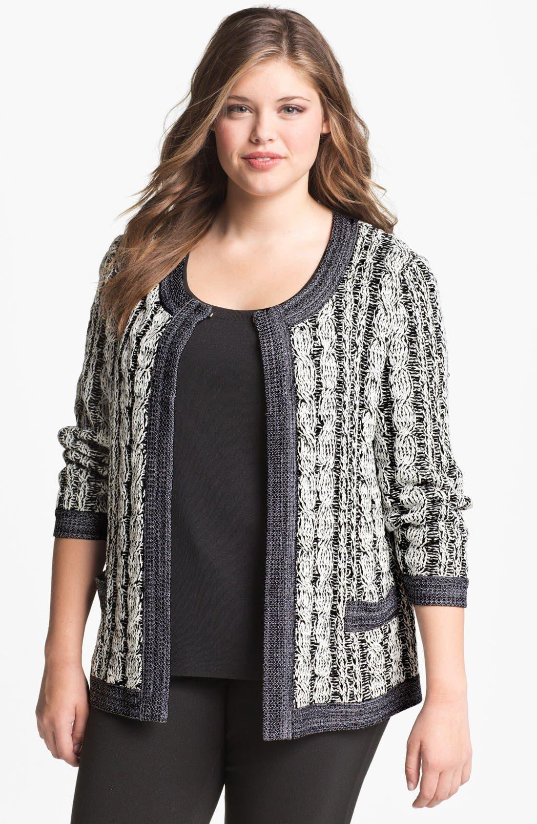 Main Image - Exclusively Misook 'Rena' Sweater Jacket (Plus Size)