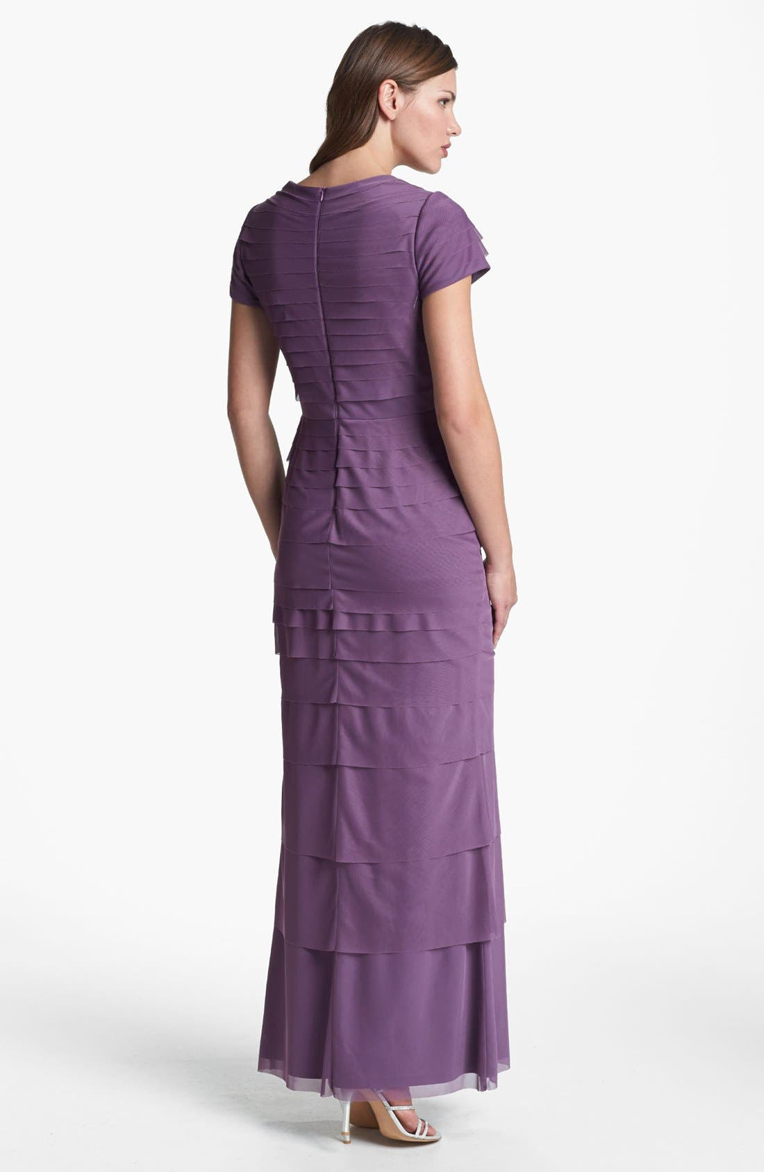 Alternate Image 2  - Adrianna Papell Embellished Shutter Pleat Mesh Gown