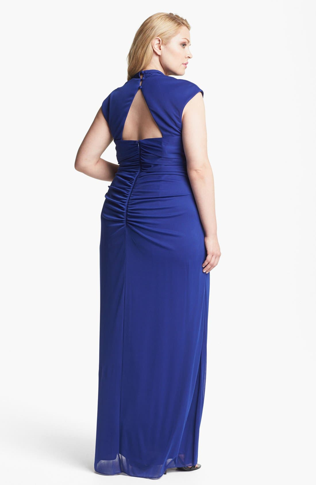 Alternate Image 2  - Xscape Ruched Gown (Plus Size)
