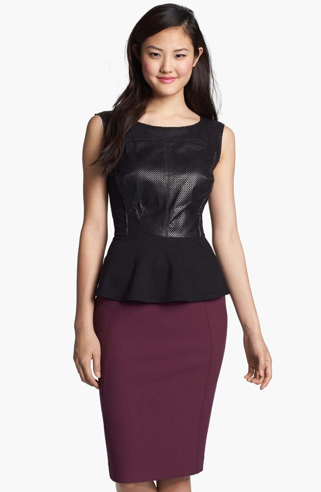 Main Image - Halogen® Lasercut Leather Front Peplum Top