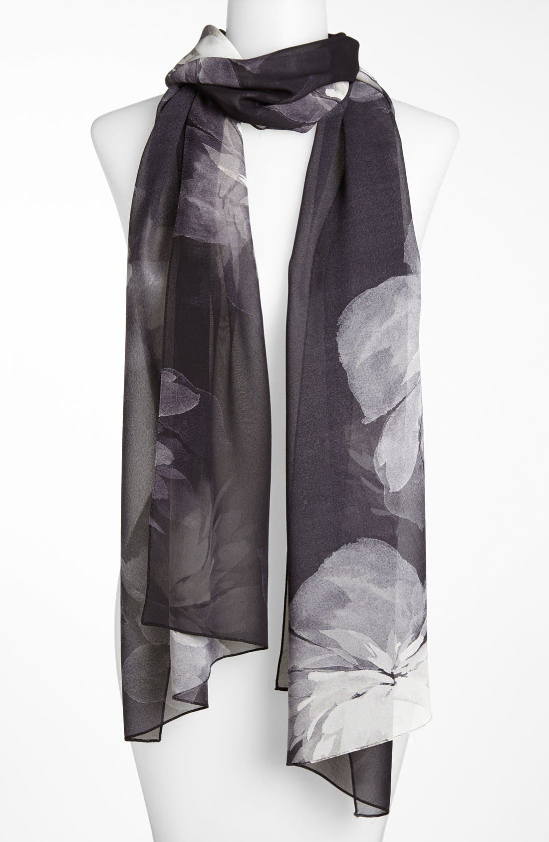 Main Image - St. John Collection Floral Shadow Print Silk Georgette Scarf
