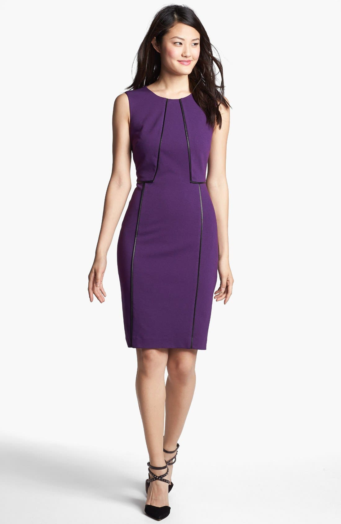 Alternate Image 1 Selected - Halogen® Faux Leather Trim Sheath Dress (Online Only)