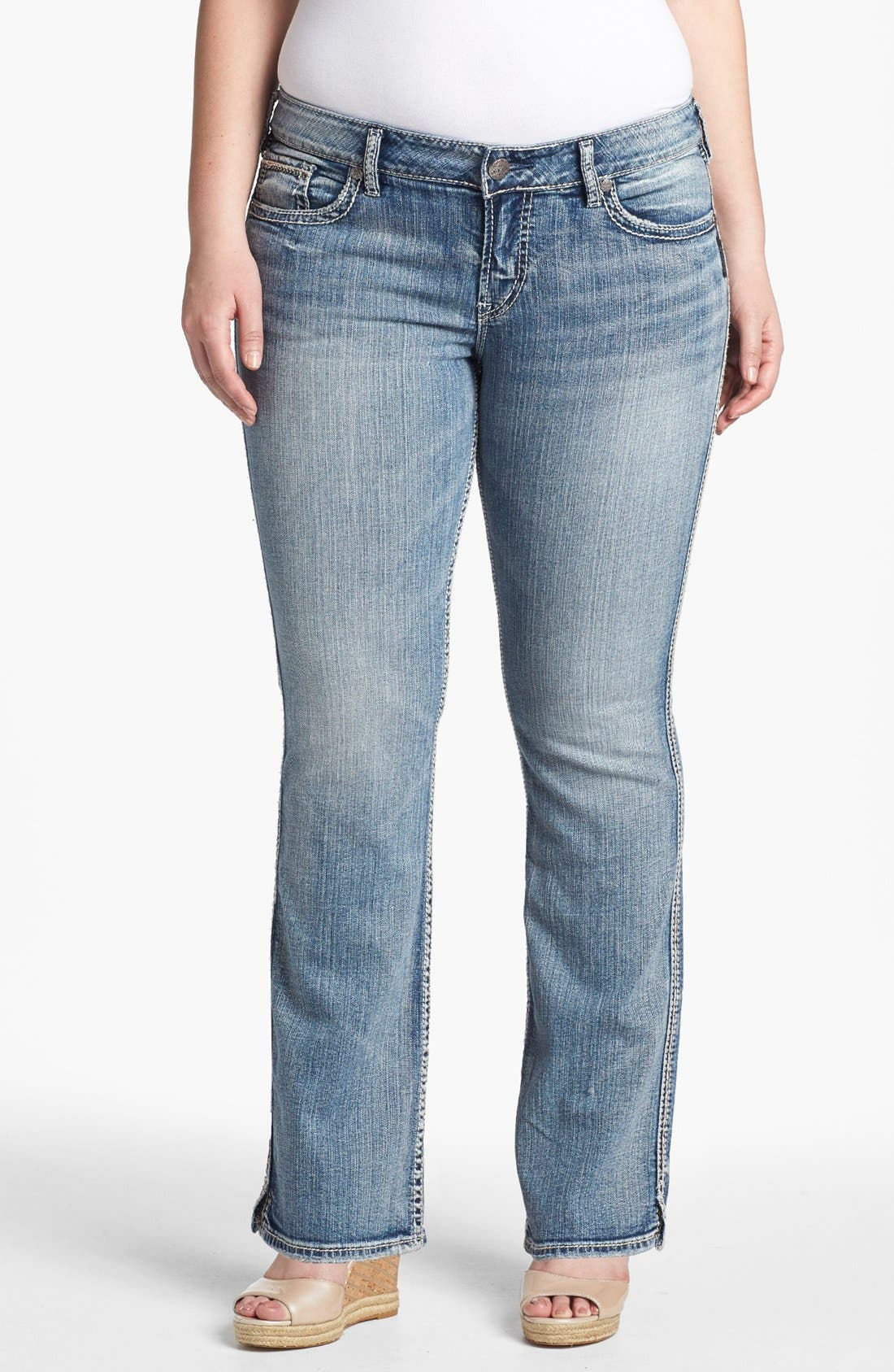 Alternate Image 1 Selected - Silver Jeans Co. 'McKenzie' Faded Bootcut Jeans (Juniors Plus)