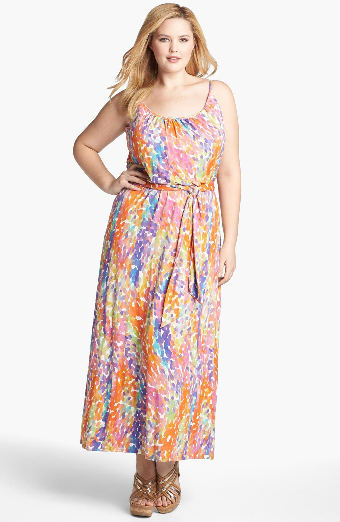 Alternate Image 1 Selected - Three Dots Shirred Print Maxi Dress (Plus Size)