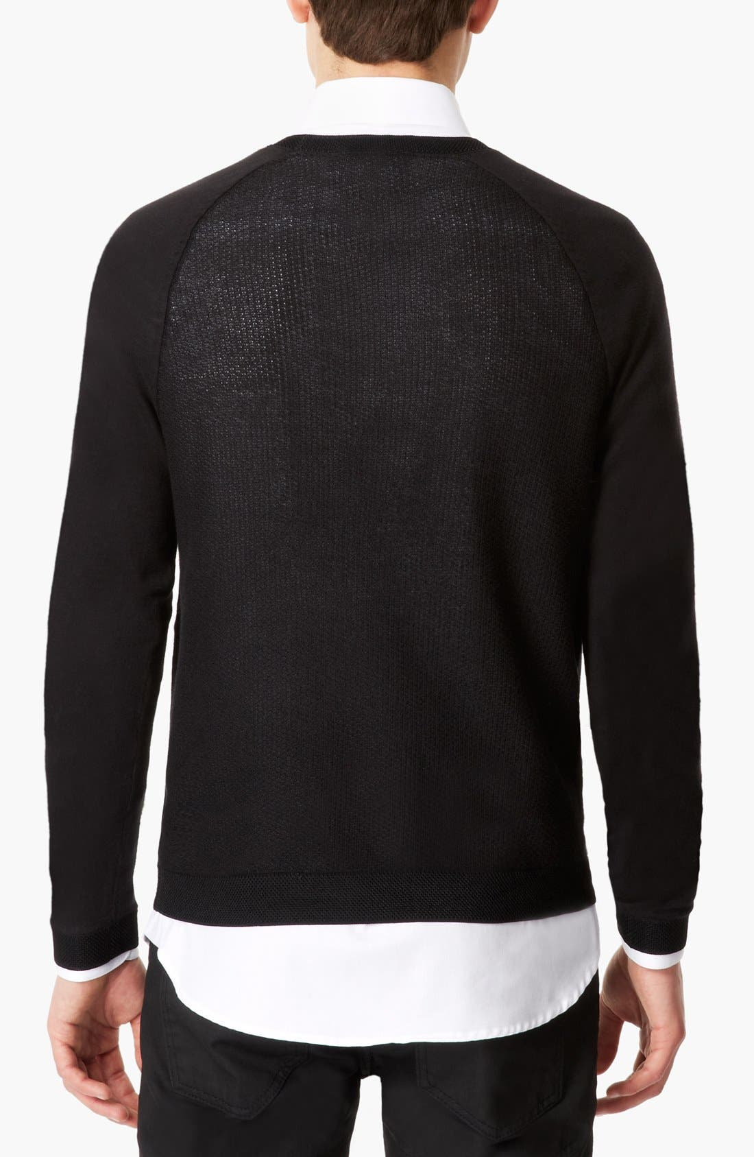 Alternate Image 2  - Topman 'Lux Collection' Mesh Cotton Crewneck Sweater