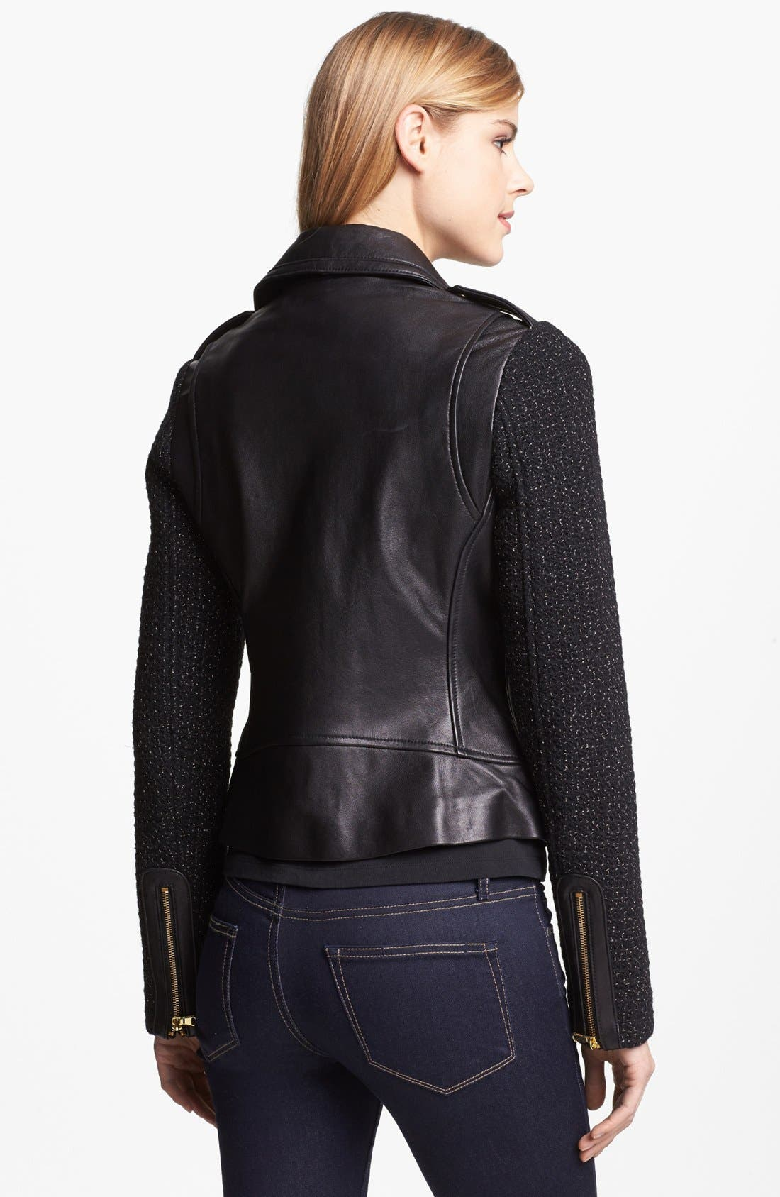 Alternate Image 2  - French Connection Leather & Metallic Tweed Moto Jacket