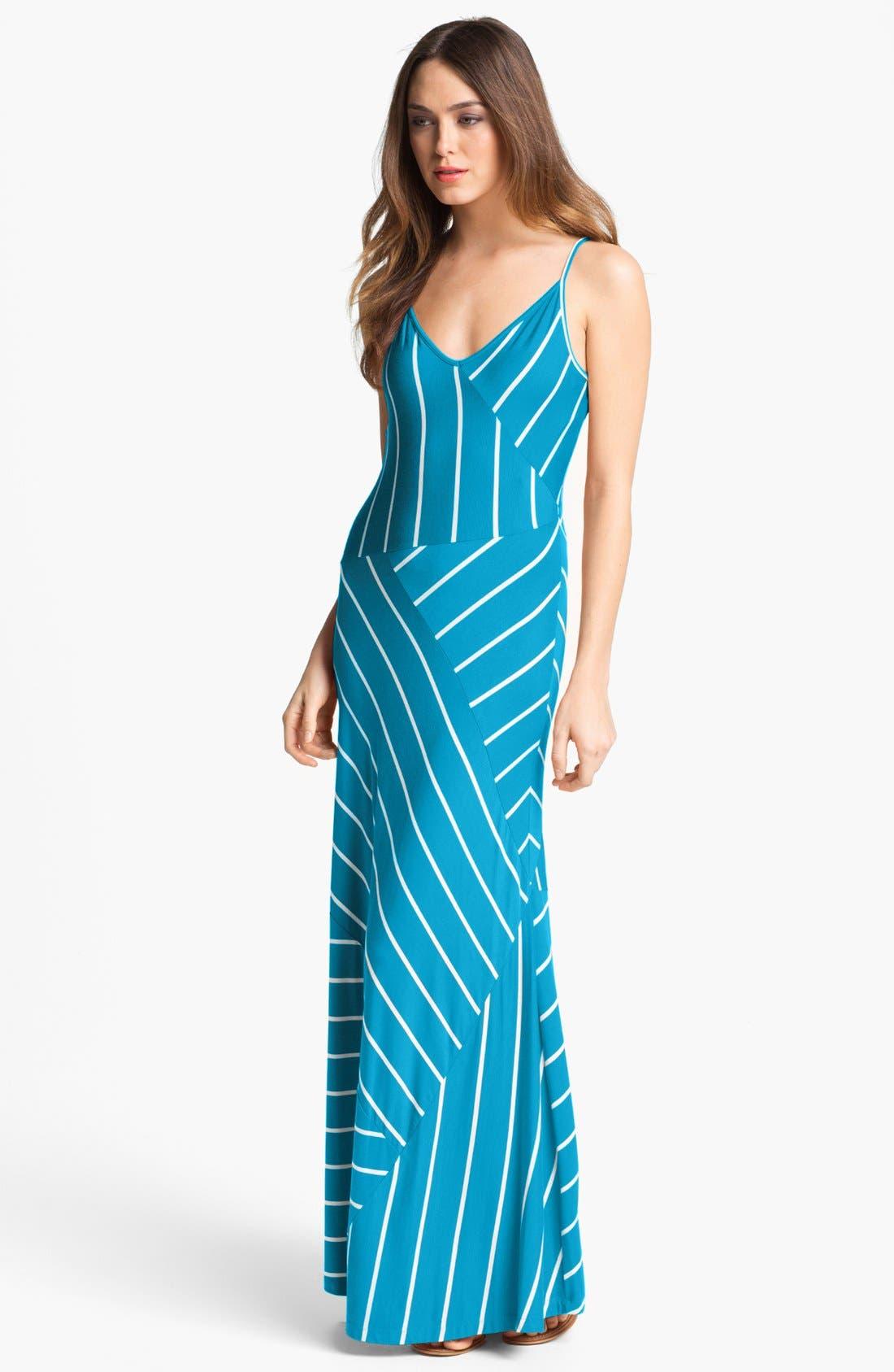 Alternate Image 1  - Calvin Klein Stripe Jersey Maxi Dress