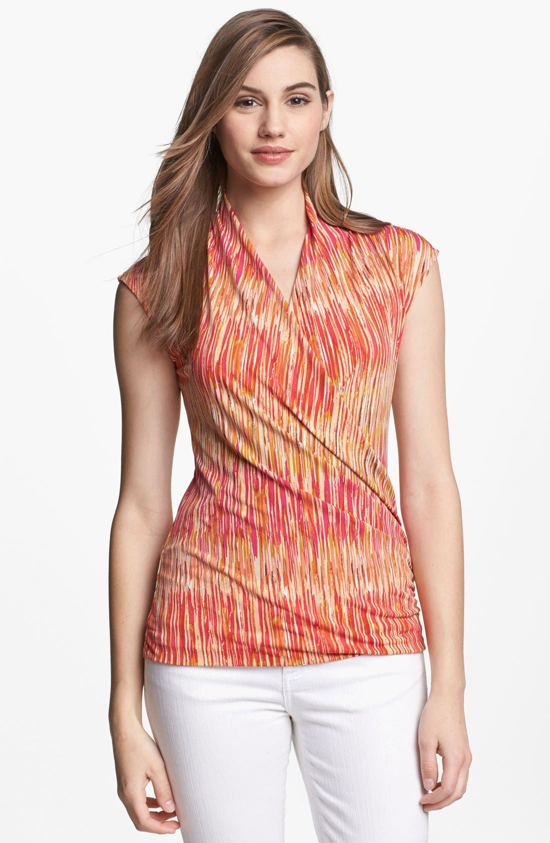 Alternate Image 1 Selected - Vince Camuto Print Faux Wrap Top