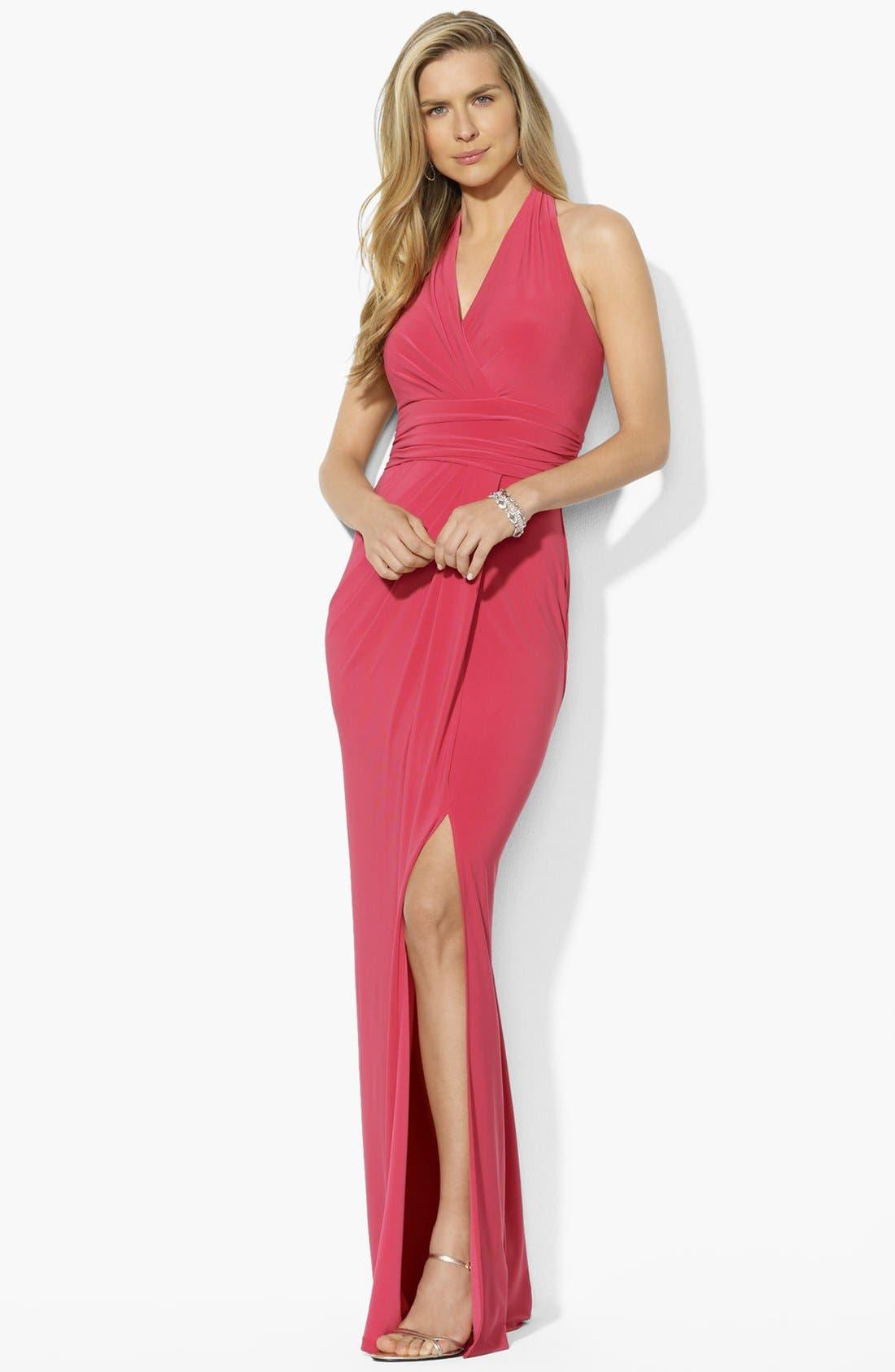Main Image - Lauren Ralph Lauren Matte Jersey Halter Dress