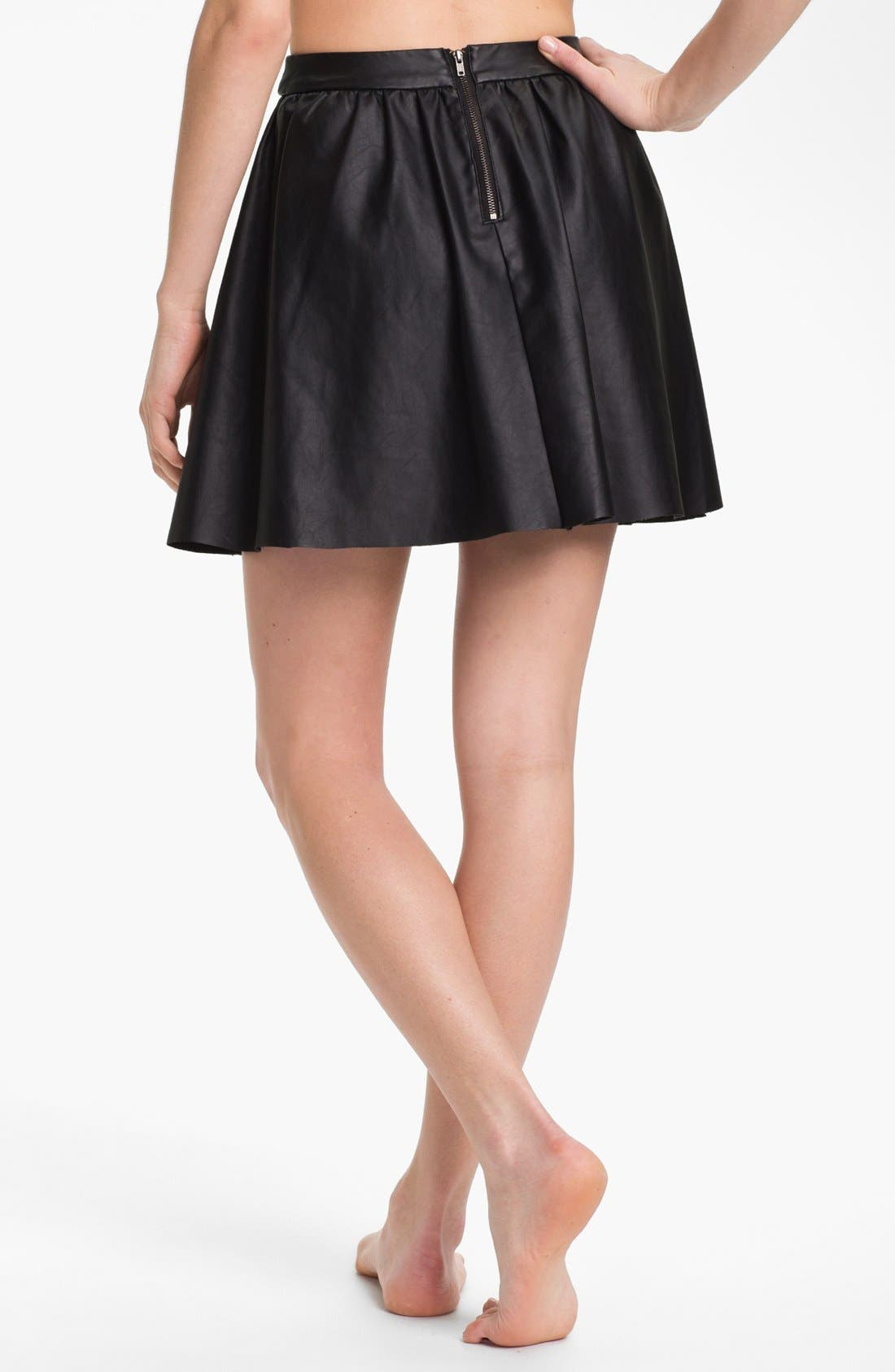 Alternate Image 2  - Elan Faux Leather Cover-Up Skirt