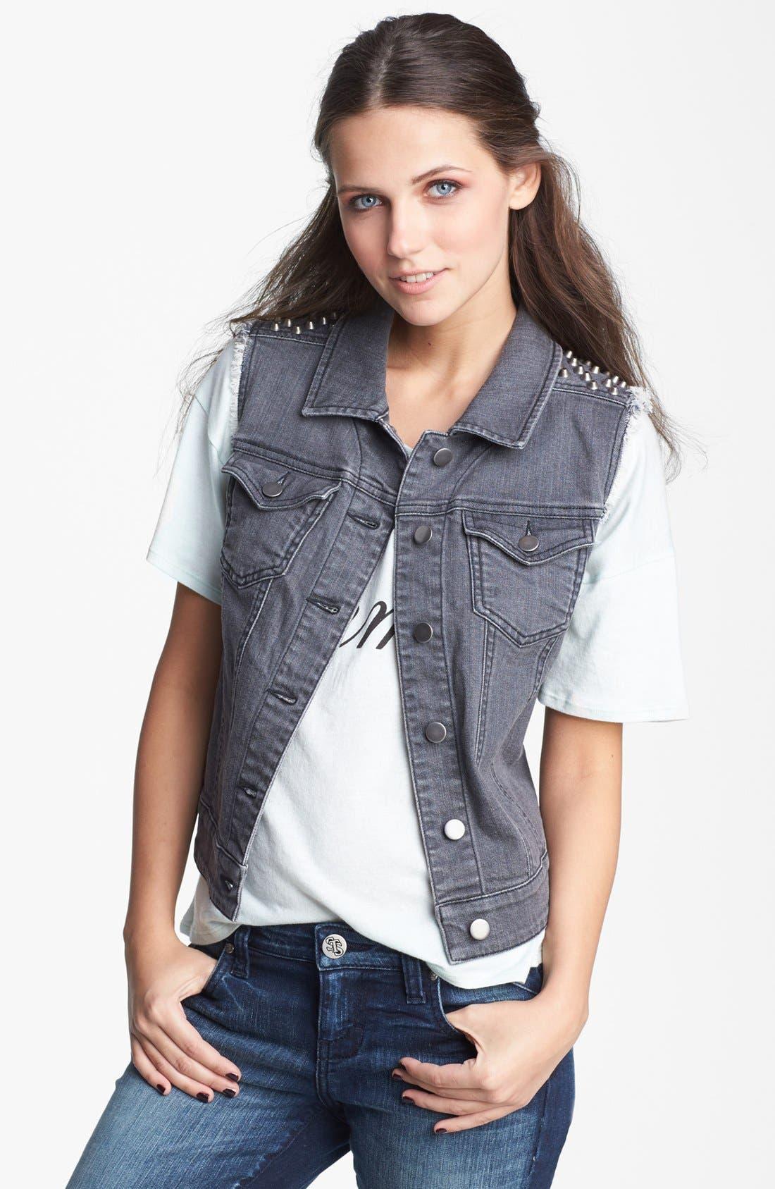 Main Image - BP. Studded Denim Vest (Juniors)