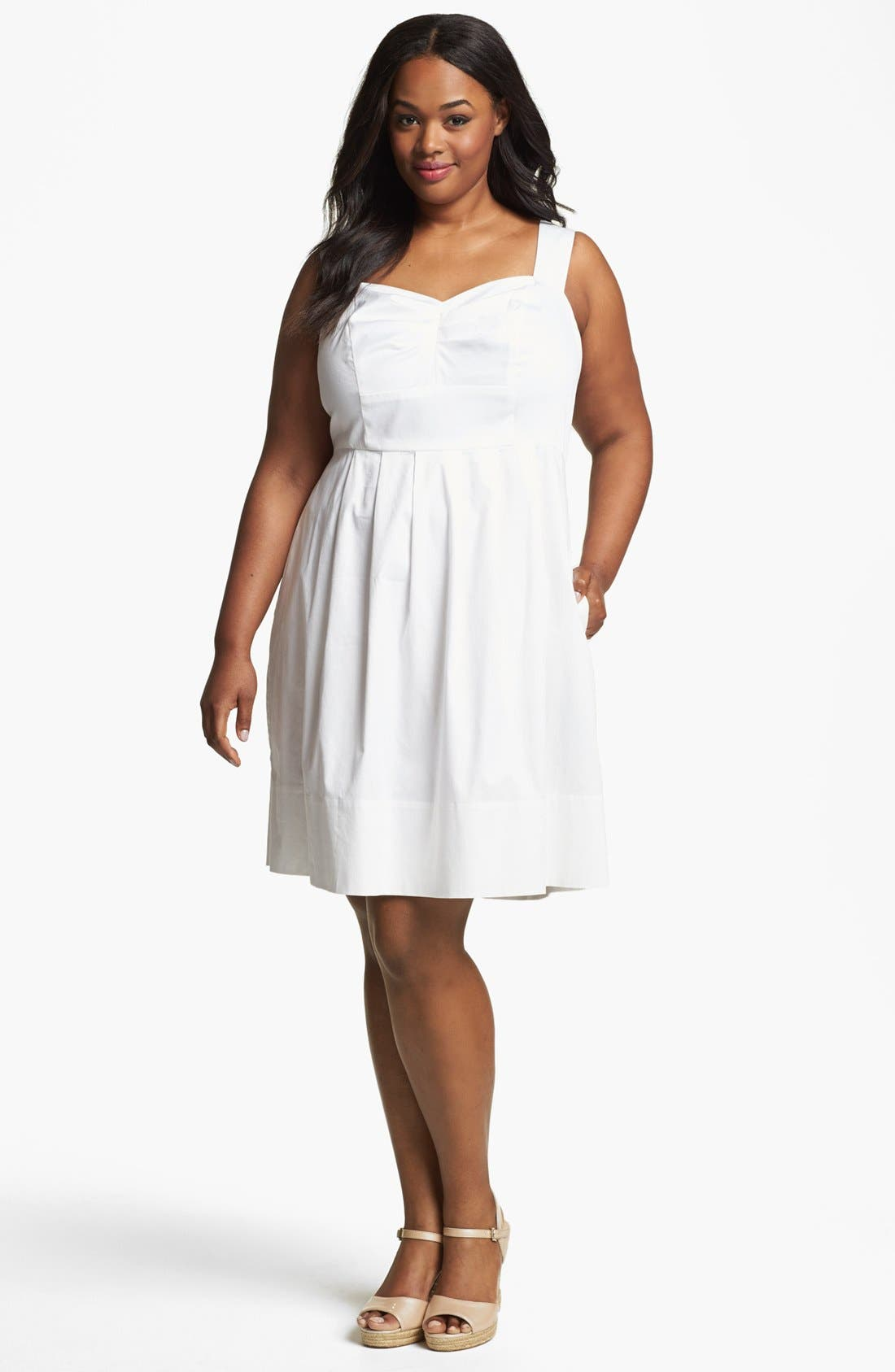 Alternate Image 1 Selected - Donna Ricco Stretch Cotton Sundress (Plus Size)
