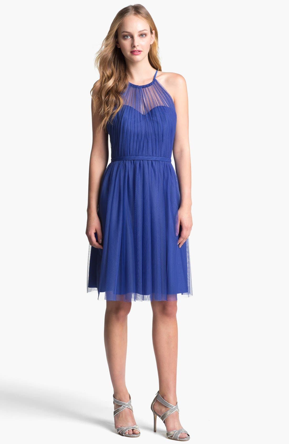 Main Image - ML Monique Lhuillier Illusion Halter Tulle Dress