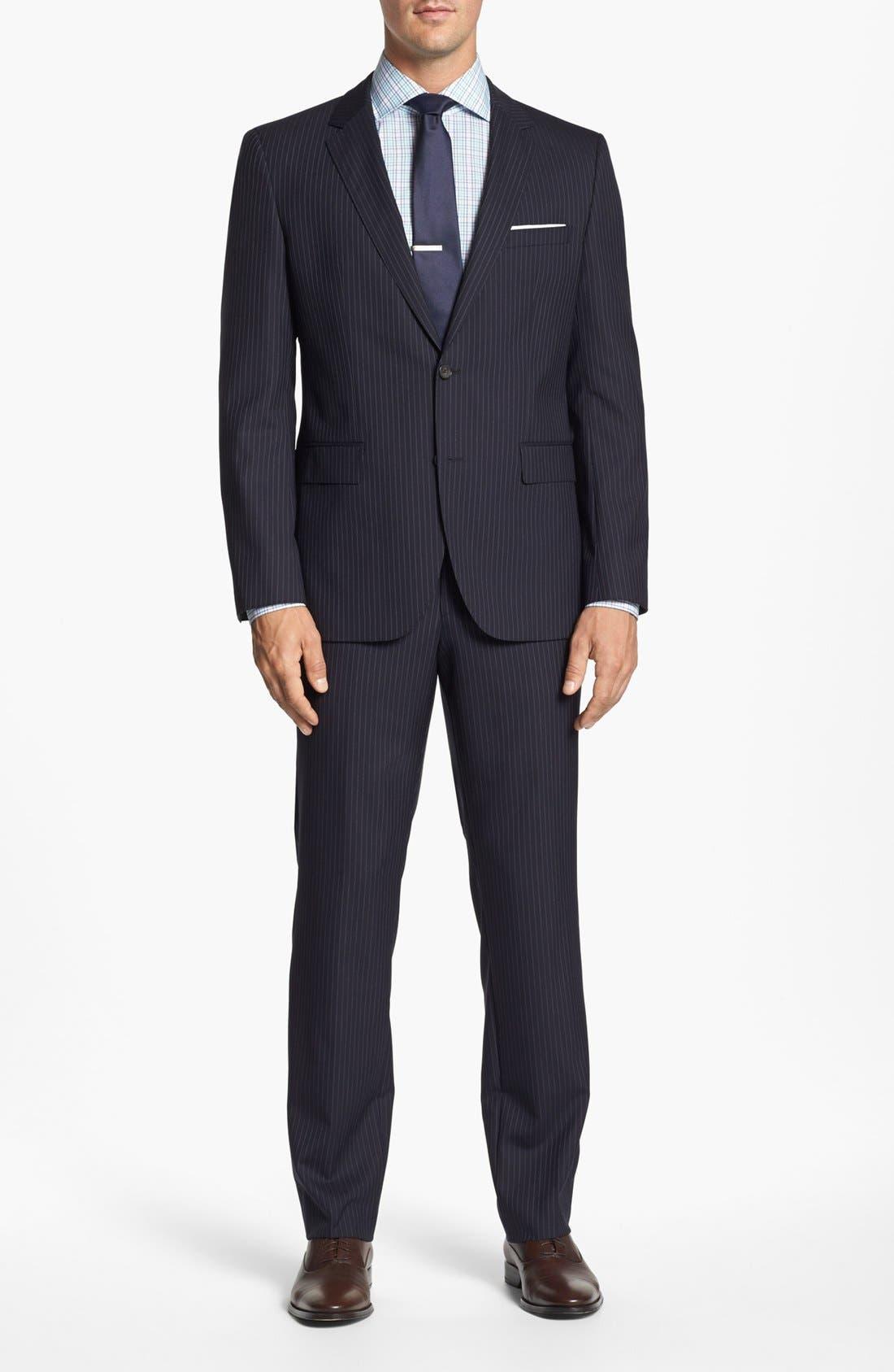 Main Image - BOSS Black 'James/Sharp' Trim Fit Stripe Wool Suit