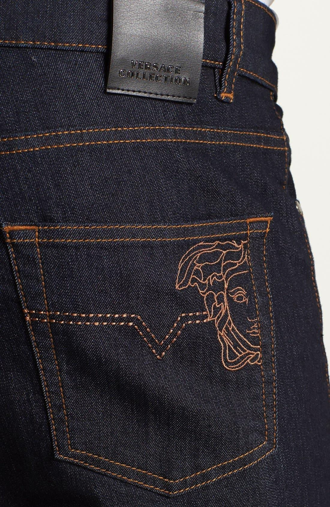 Alternate Image 4  - Versace 'Medusa' Slim Fit Jeans (Dark Navy)