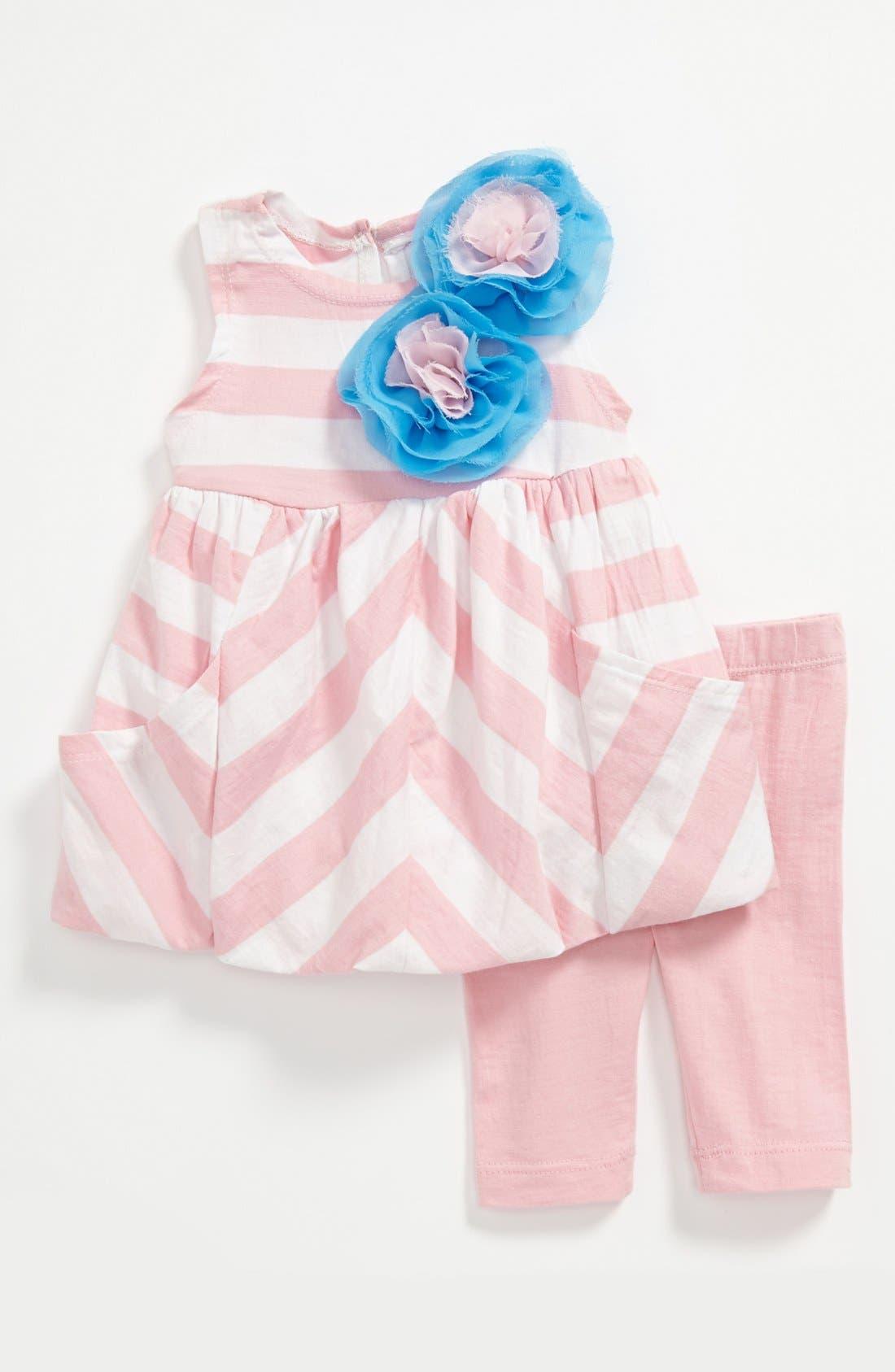 Alternate Image 1 Selected - Pippa & Julie Stripe Dress & Leggings (Baby)
