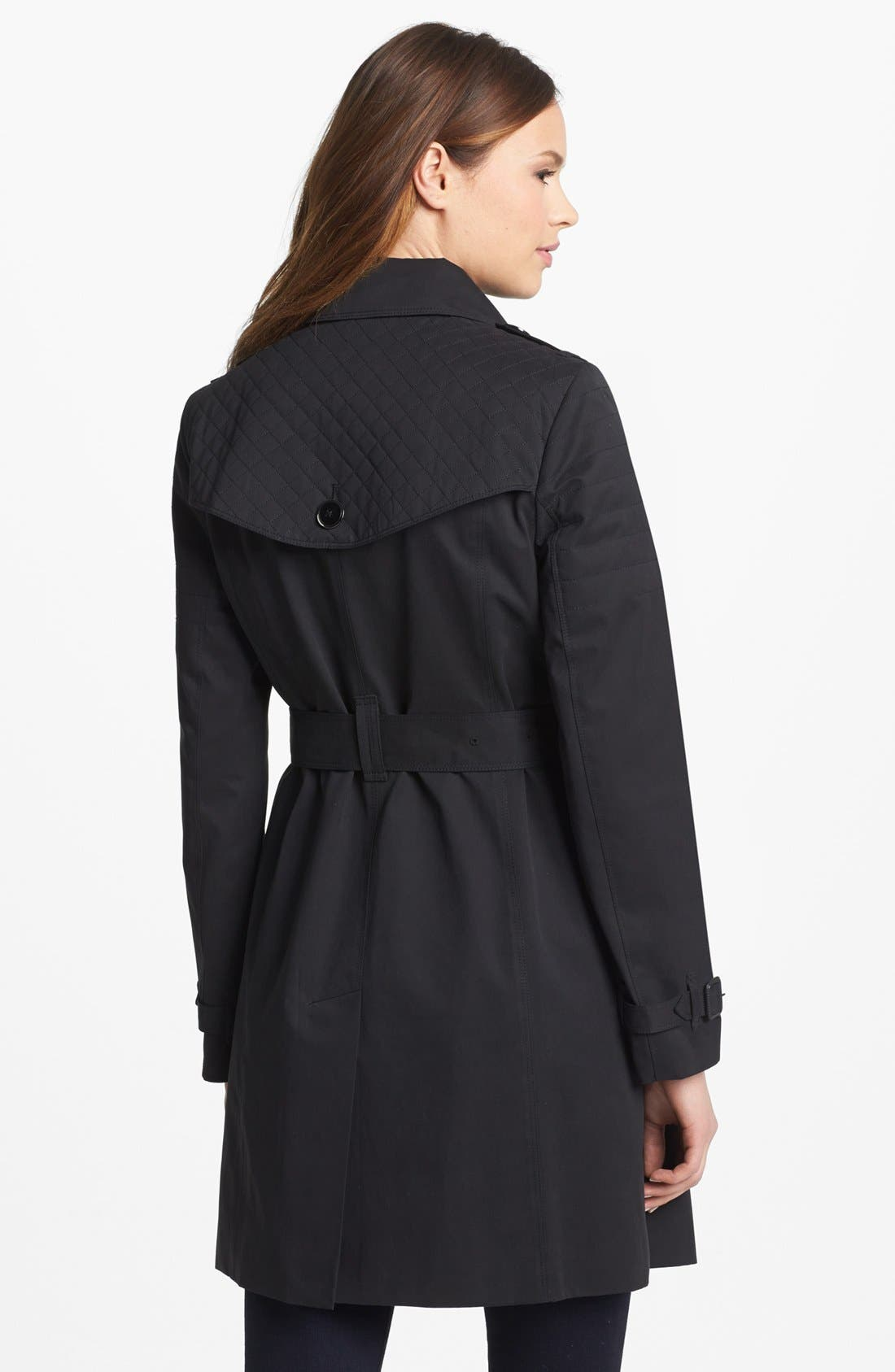 Alternate Image 2  - London Fog Quilted Flap Double Breasted Trench Coat (Regular & Petite) (Online Only)