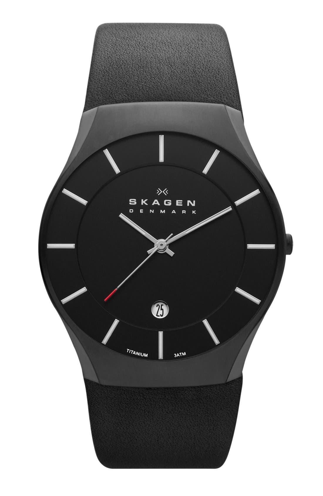 Main Image - Skagen Slim Round Leather Strap Watch, 39mm