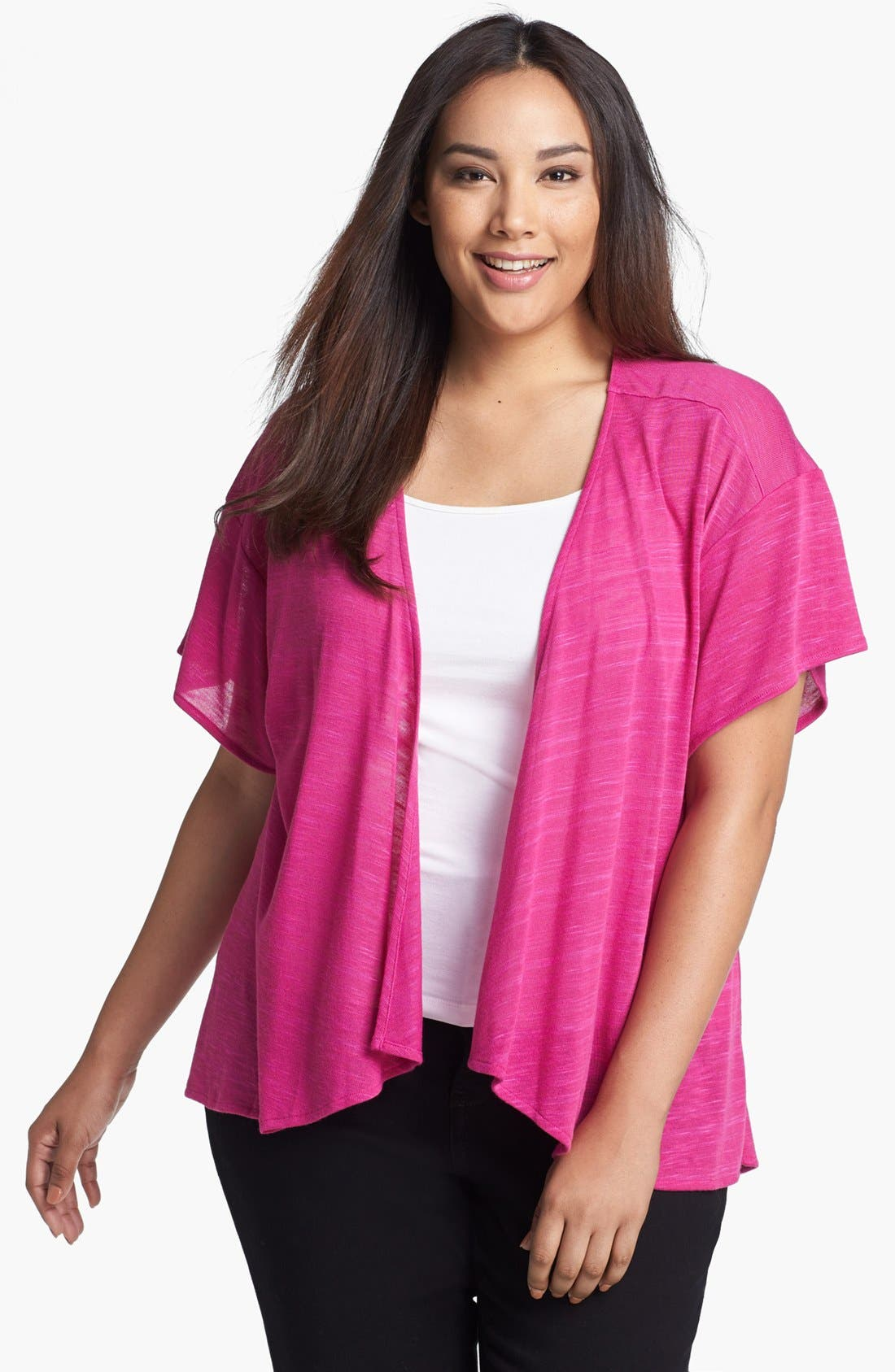 Alternate Image 1 Selected - Sejour Cascade Open Front Cardigan (Plus Size)
