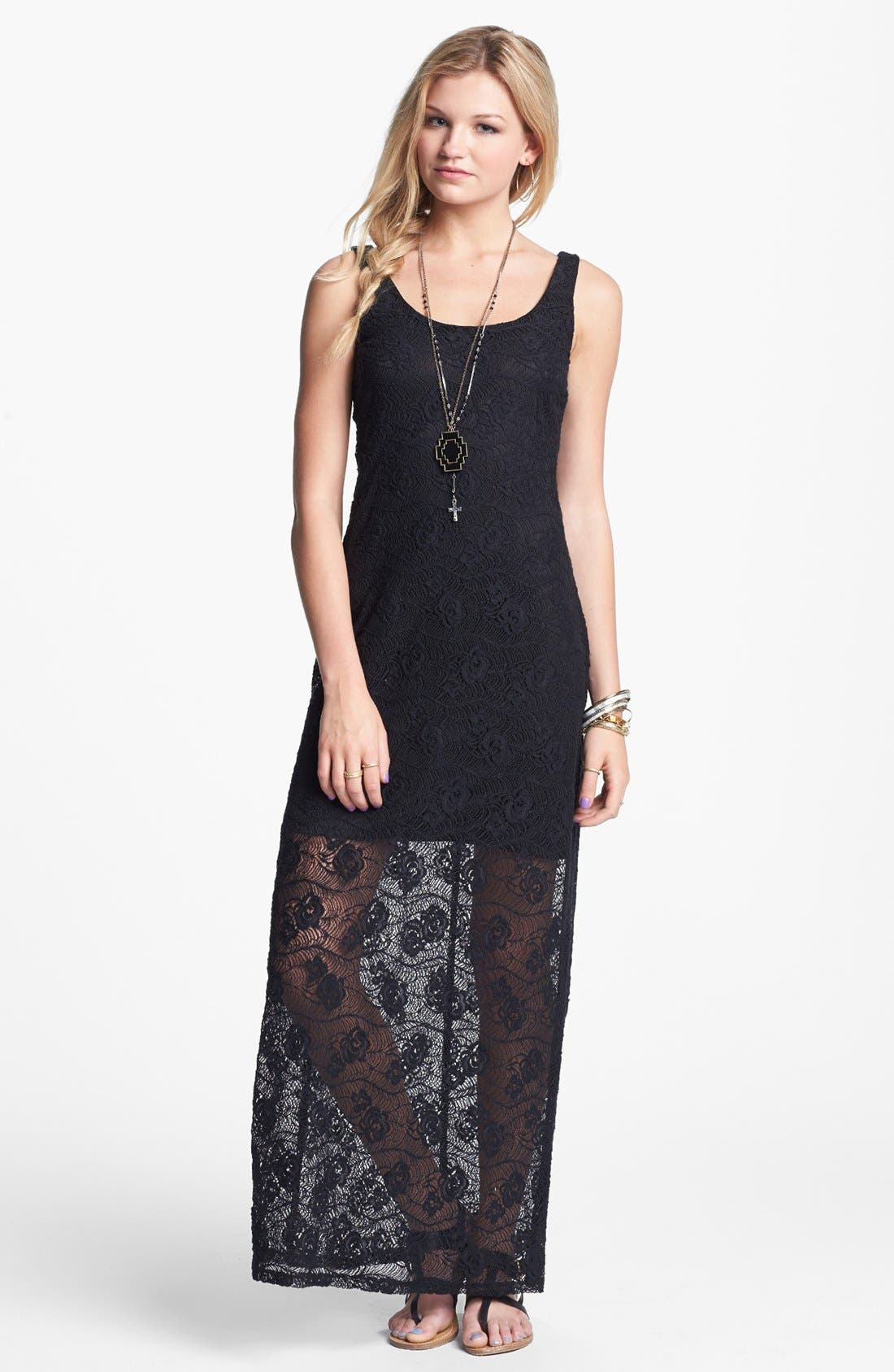 Main Image - Fire Lace Tank Maxi Dress (Juniors)