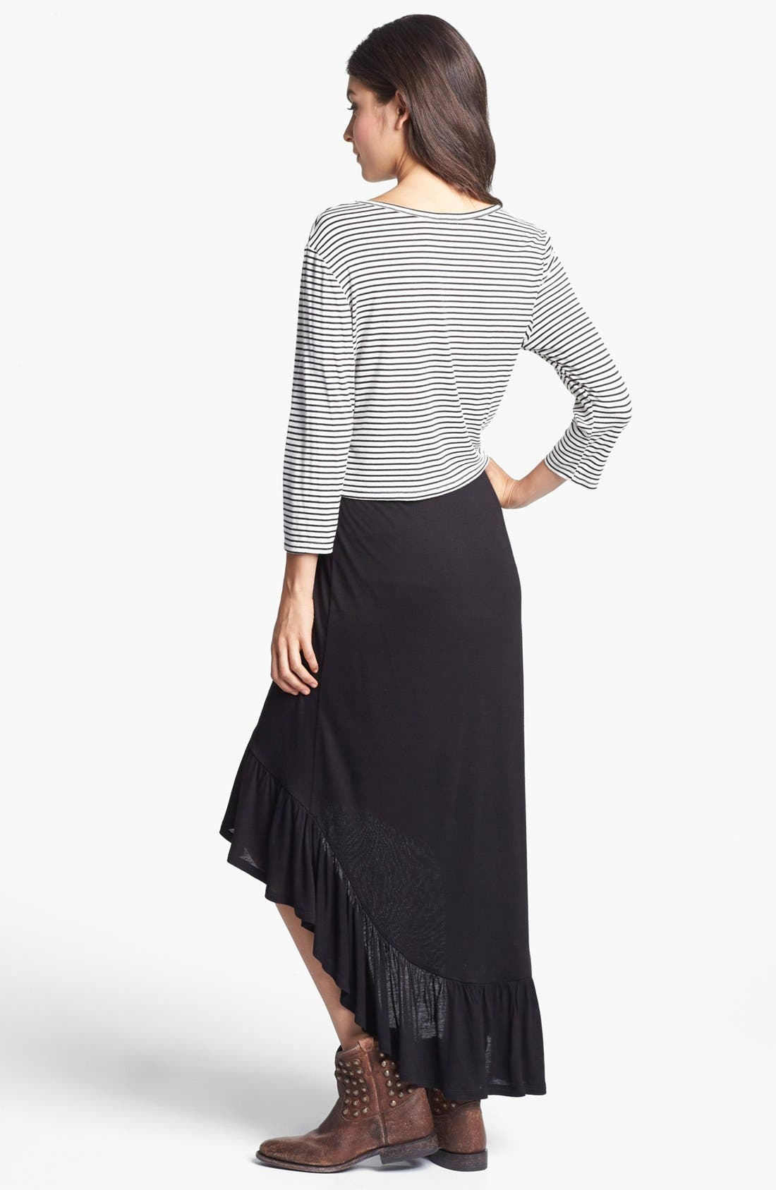 Alternate Image 2  - Lily White Ruffle High/Low Skirt (Juniors) (Online Only)