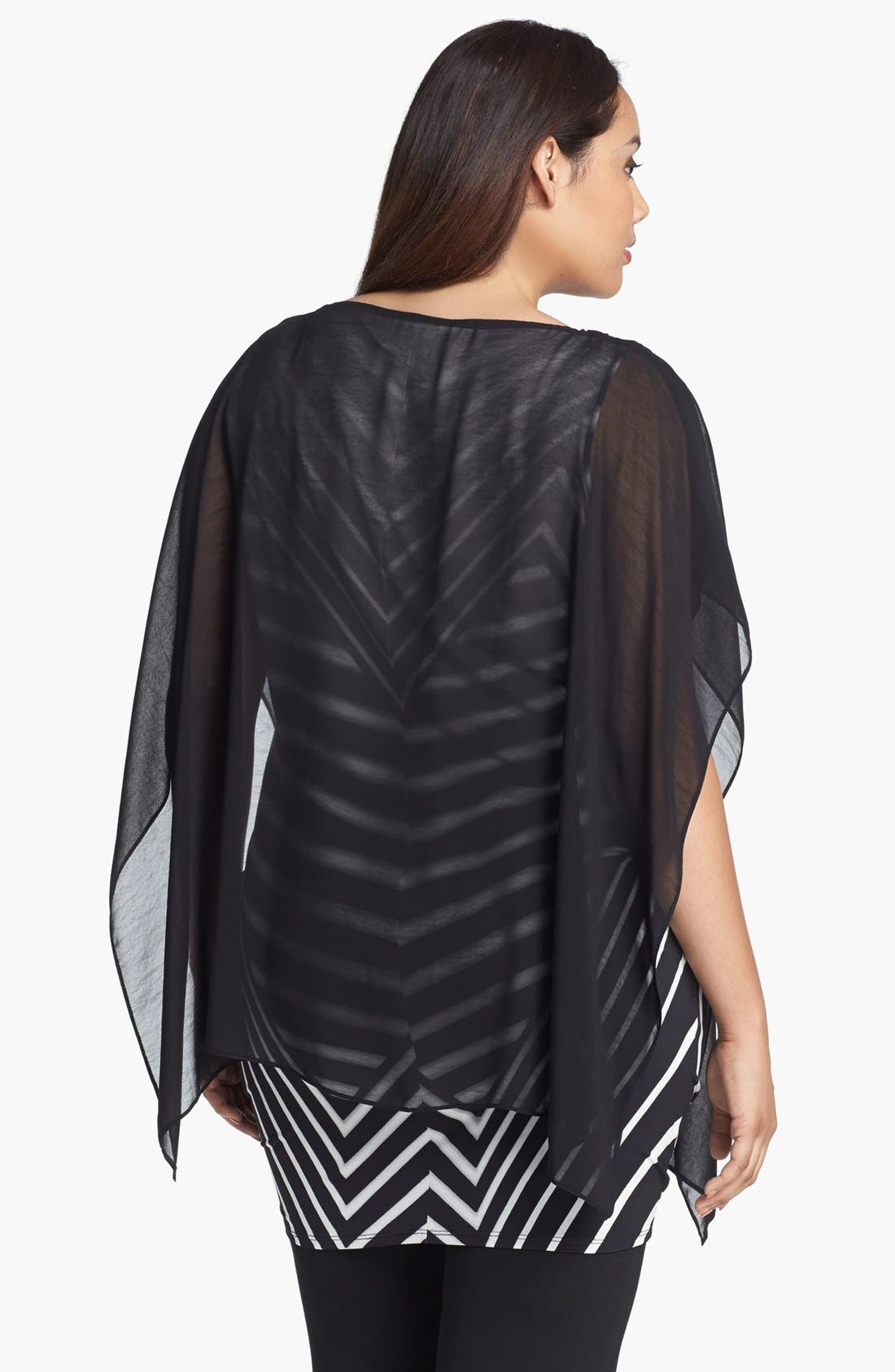 Alternate Image 2  - Evans Print Double Layer Tunic (Plus Size)