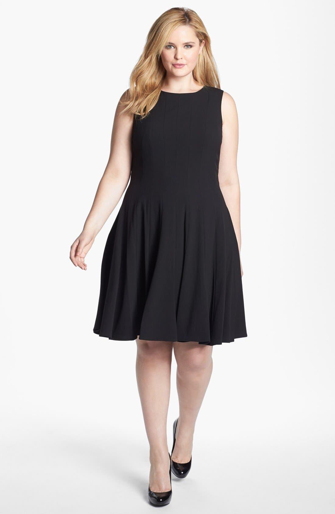 Main Image - Calvin Klein Sleeveless Fit & Flare Dress (Plus Size)