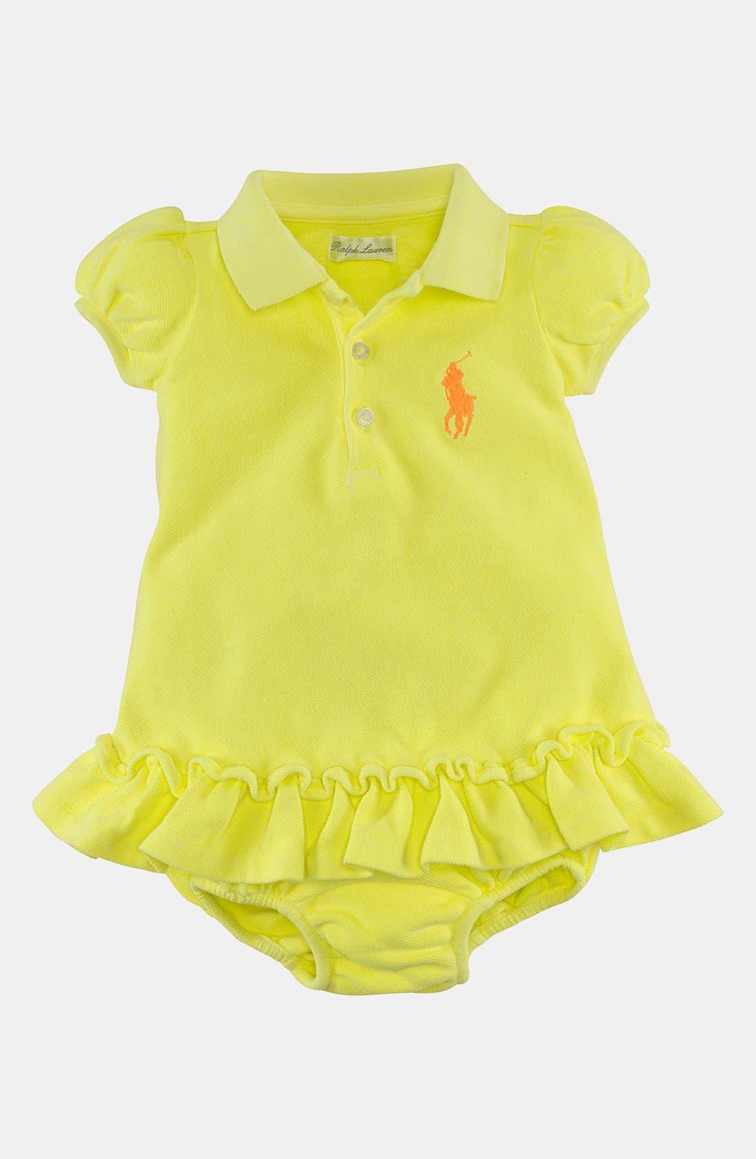 Alternate Image 1 Selected - Ralph Lauren Polo Dress & Bloomers (Baby Girls)