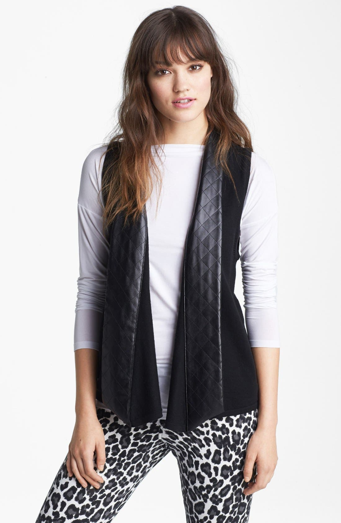 Alternate Image 1 Selected - Nordstrom Quilted Faux Leather Trim Vest