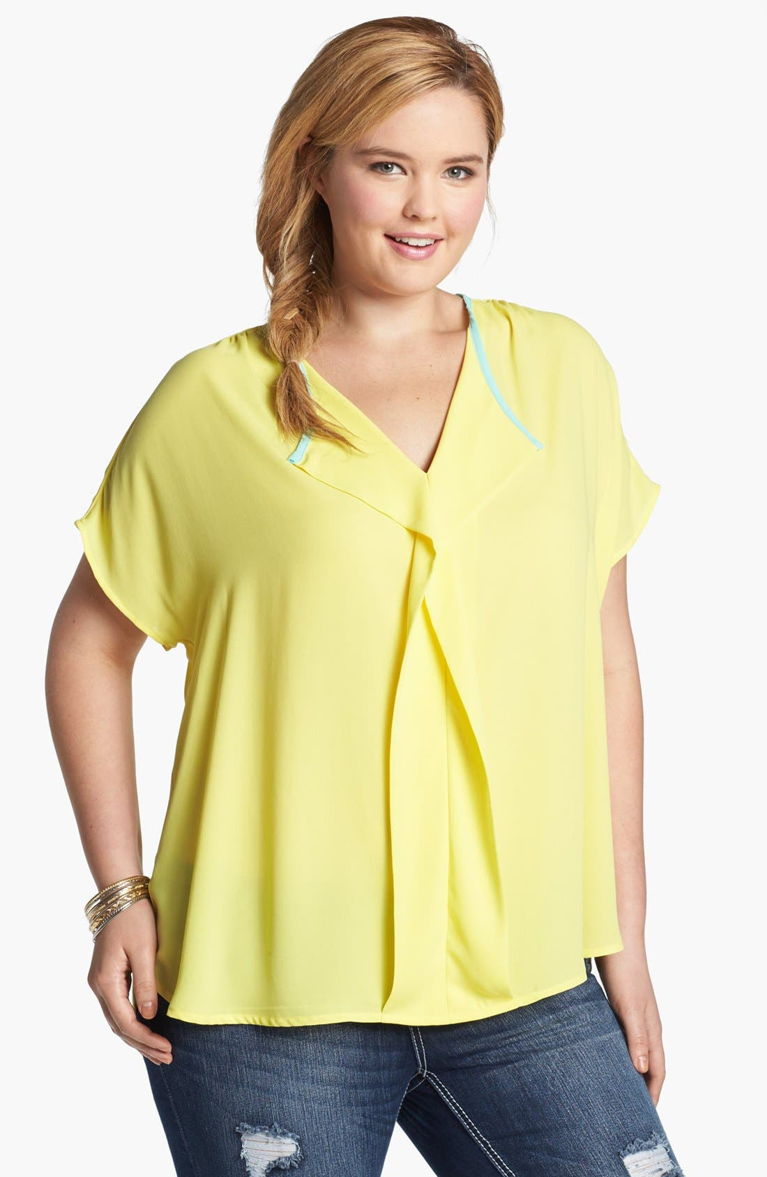Main Image - Pleione Ruffle Front Short Sleeve Top (Plus Size)