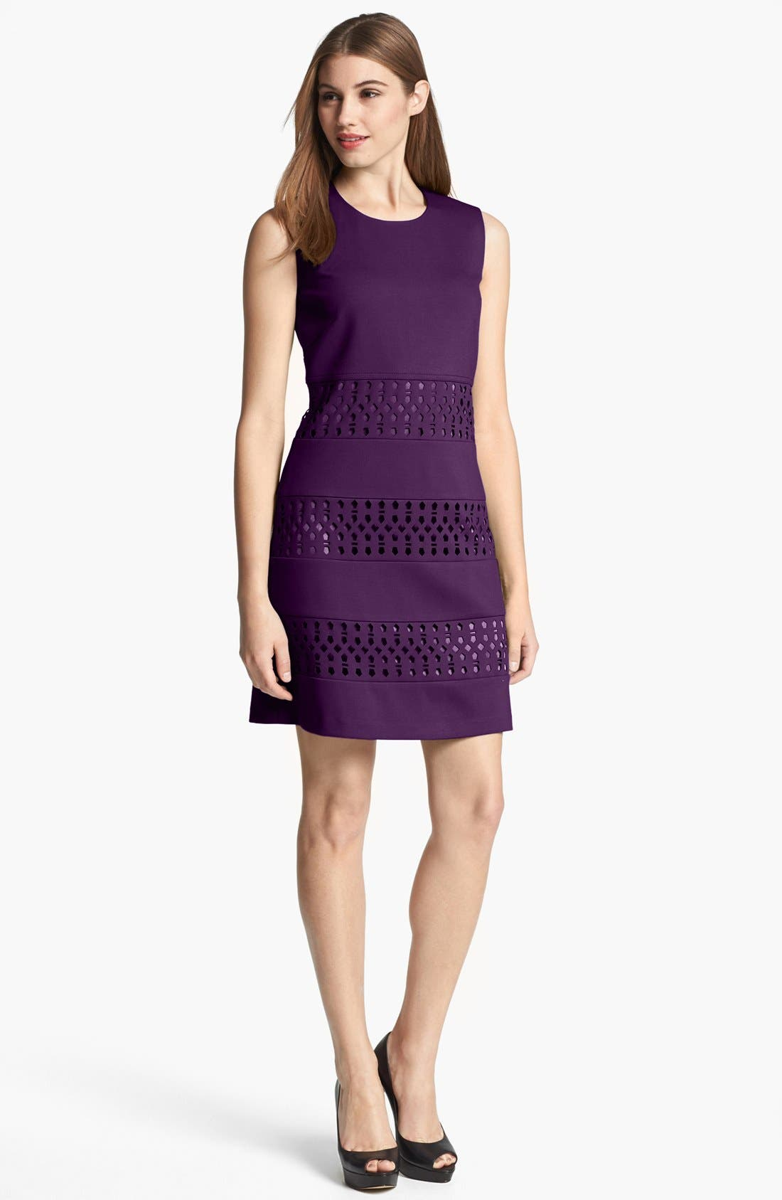 Alternate Image 1 Selected - Laundry by Shelli Segal Sleeveless Laser Cut Ponte Shift Dress