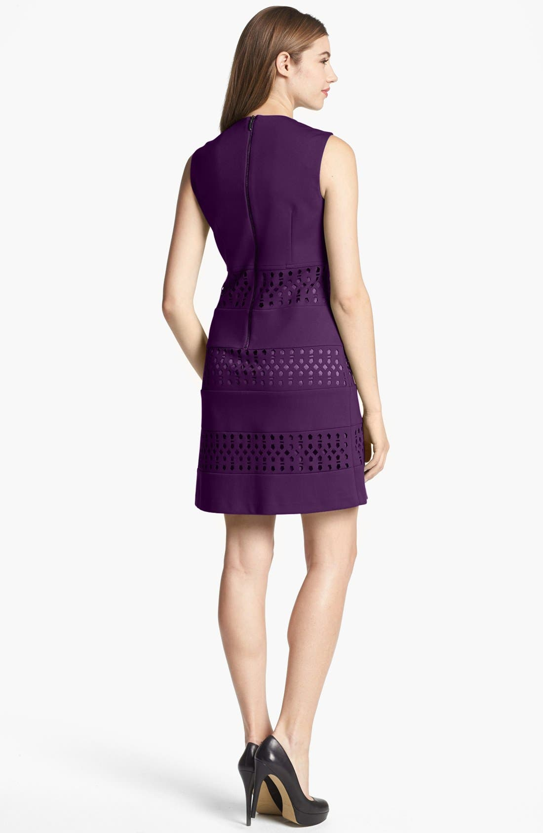 Alternate Image 2  - Laundry by Shelli Segal Sleeveless Laser Cut Ponte Shift Dress