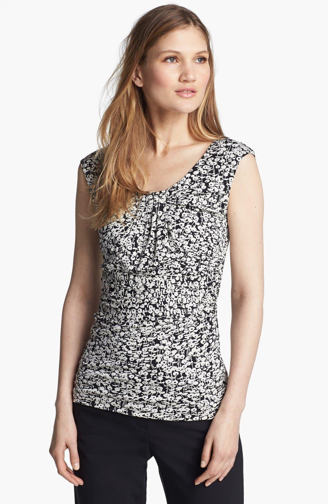 Alternate Image 1 Selected - Classiques Entier® Pleat Neck Silk Blend Jersey Top