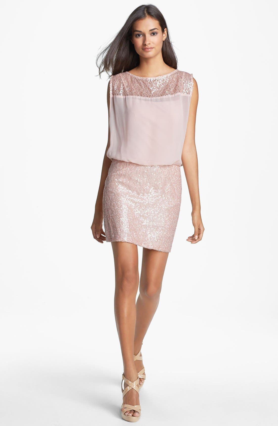 Alternate Image 3  - Aidan Mattox Embellished Lace & Chiffon Blouson Dress (Online Only)