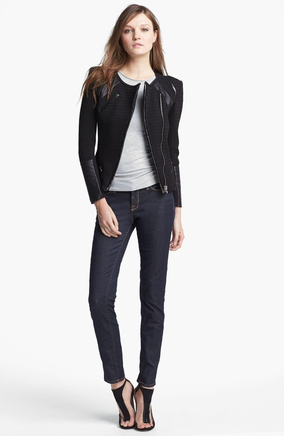 Alternate Image 1 Selected - IRO 'Risley' Asymmetrical Leather Trim Jacket