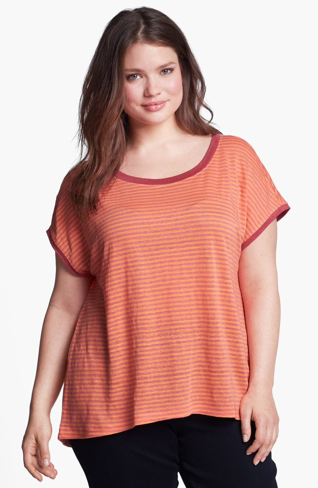 Alternate Image 1 Selected - Eileen Fisher Stripe Linen Top (Plus Size)
