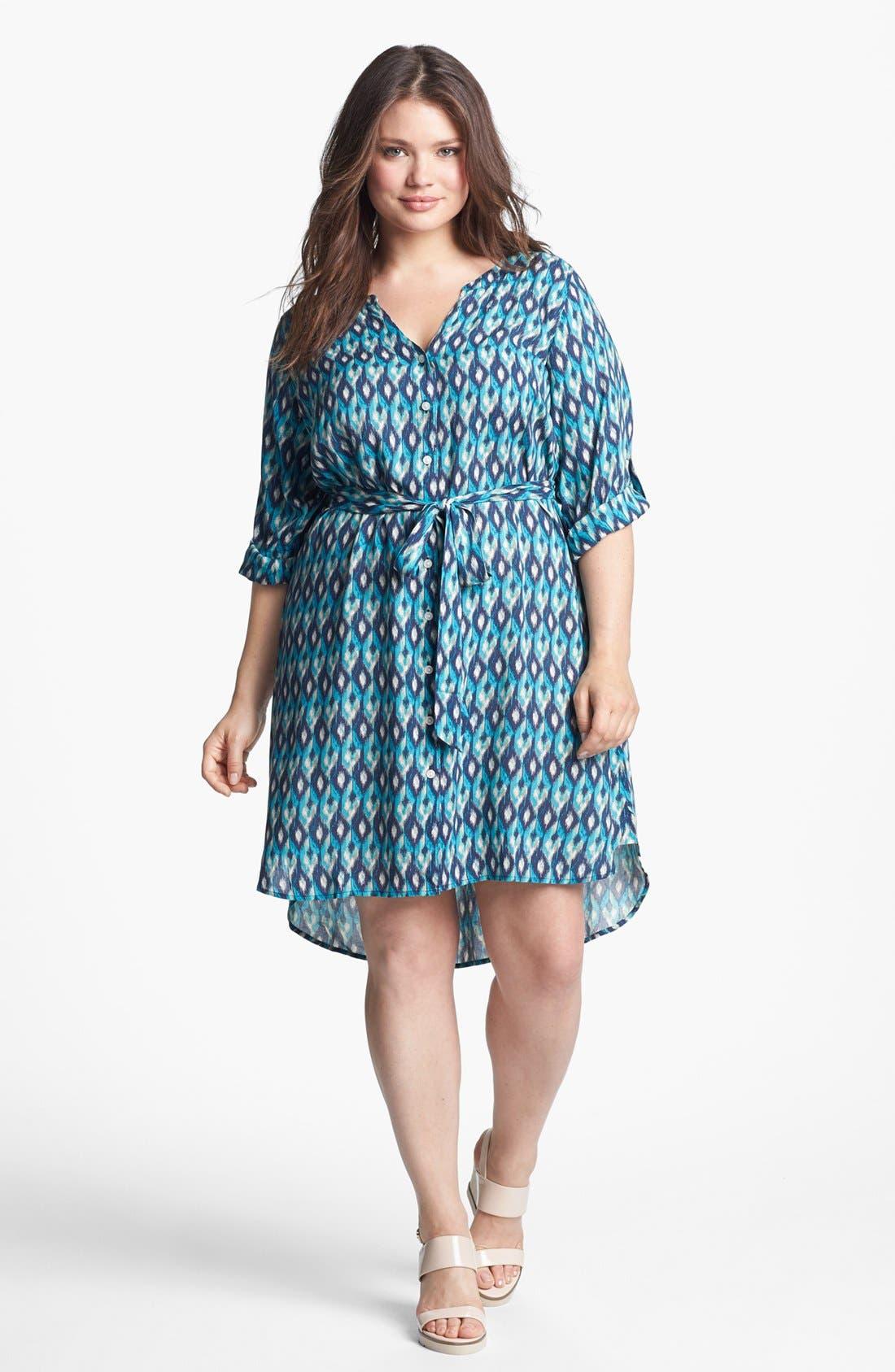 Alternate Image 1 Selected - Lucky Brand 'Vailea' Print Shirtdress (Plus Size)